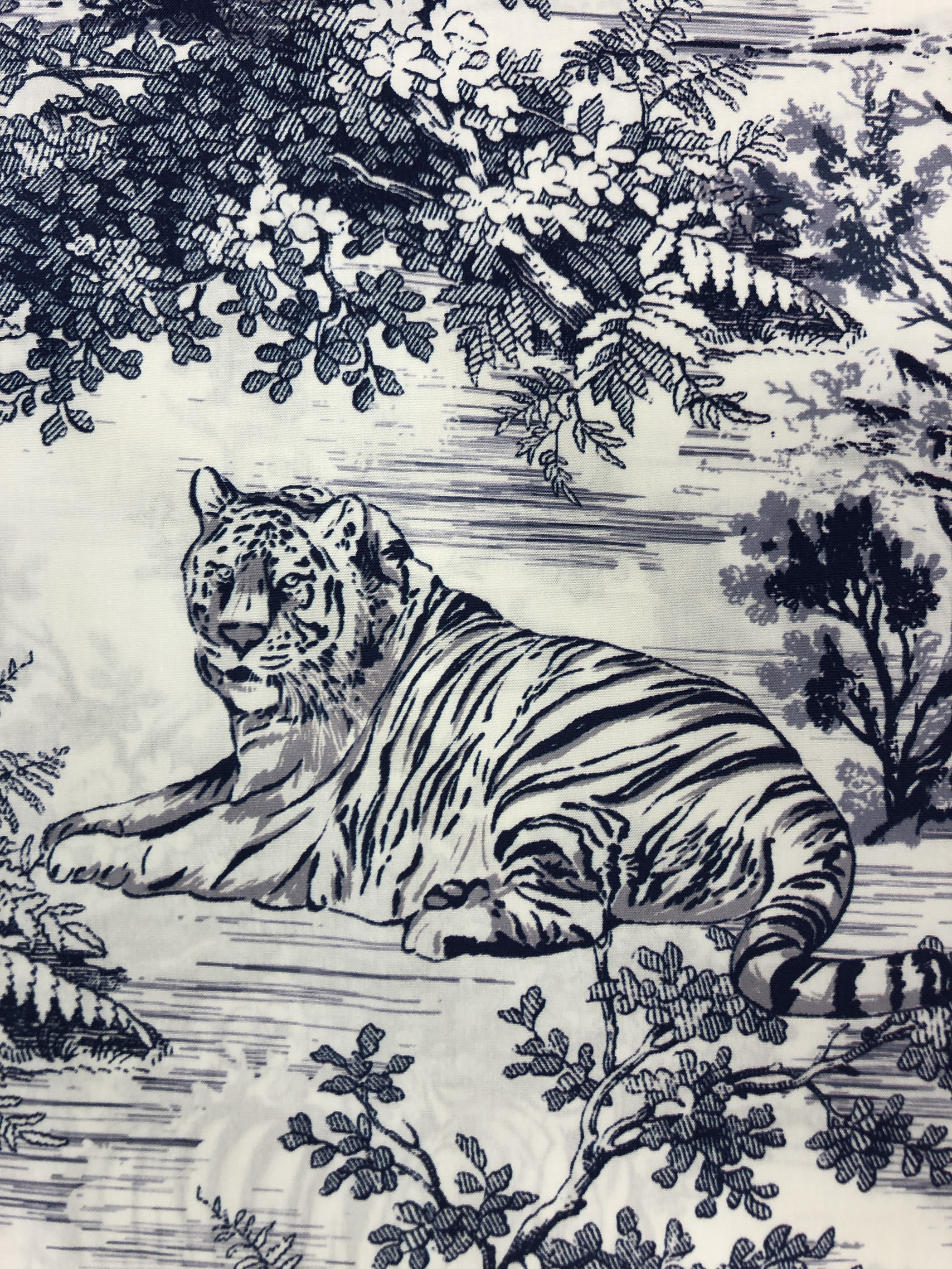 porslinstuger tiger vit blått modetyg metervara bomull tyglust laholm