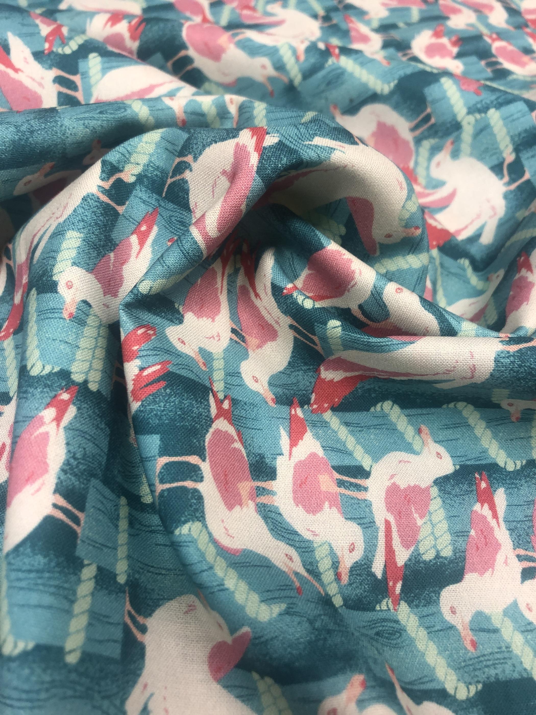 fiskmås blå rosa modetyg metervara bomull tyglust laholm