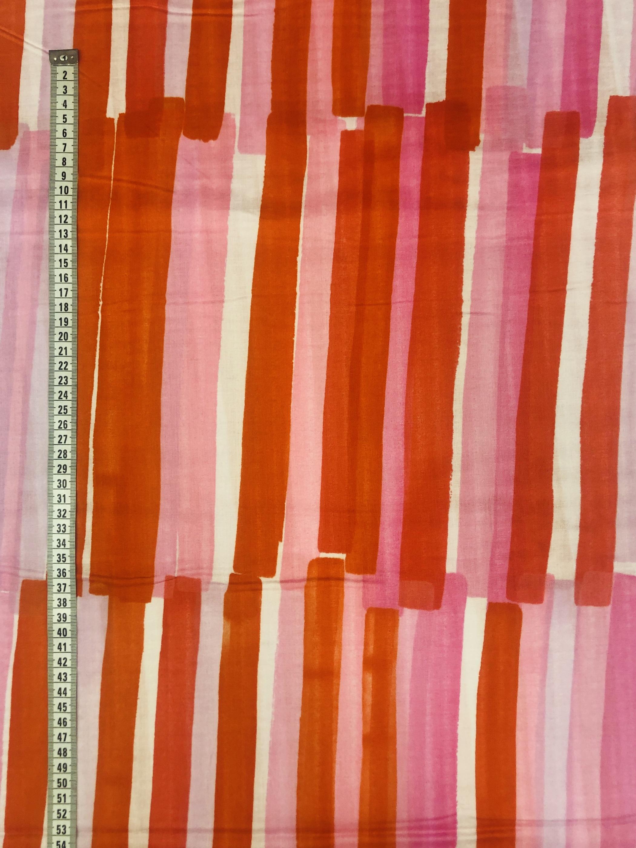 penseldrag ränder randig rosa röd vit bomull bomullstyg metervara tyglust laholm