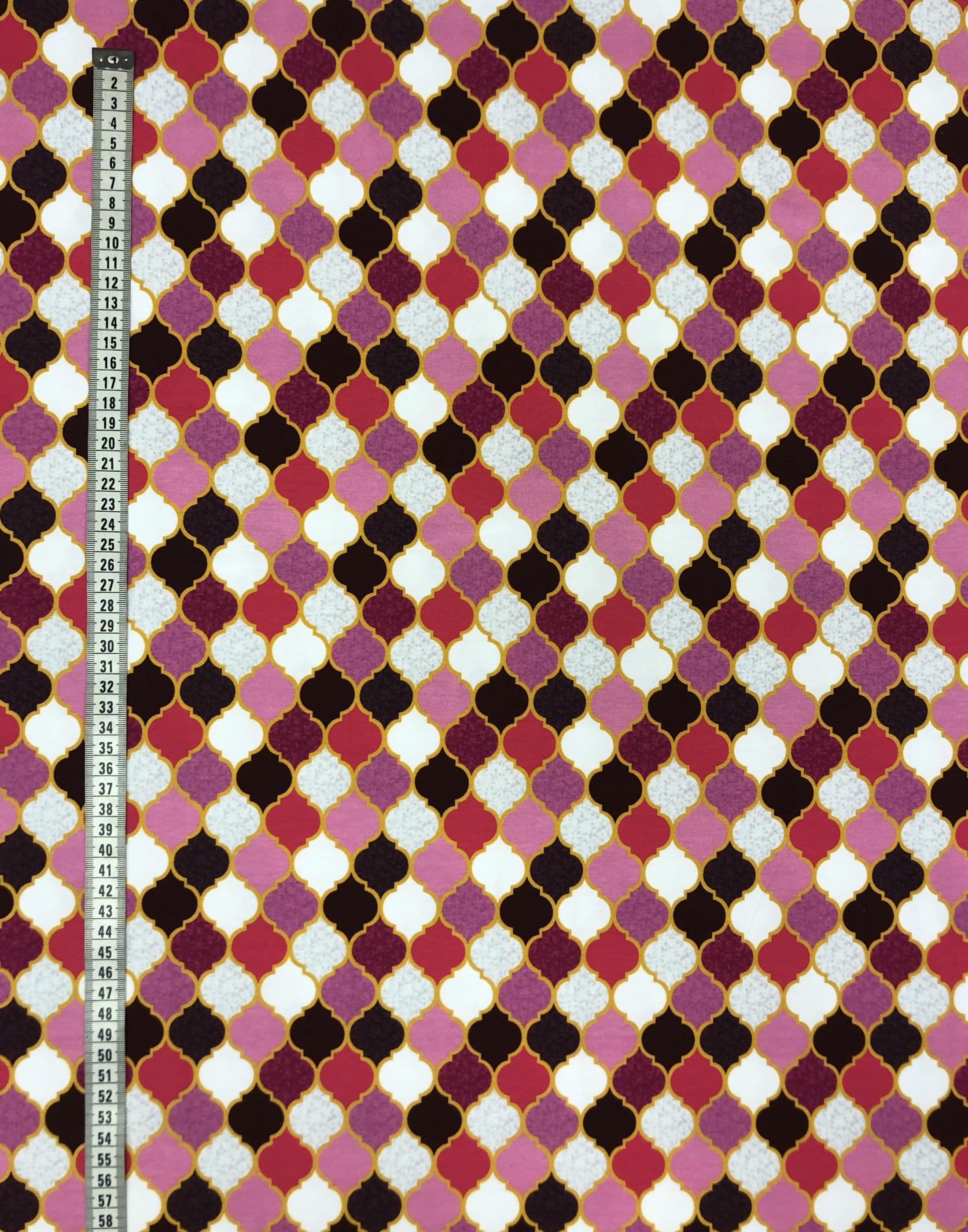 marocko trikåtyg bomullstrikå rosa lila vit metervara tyglust laholm