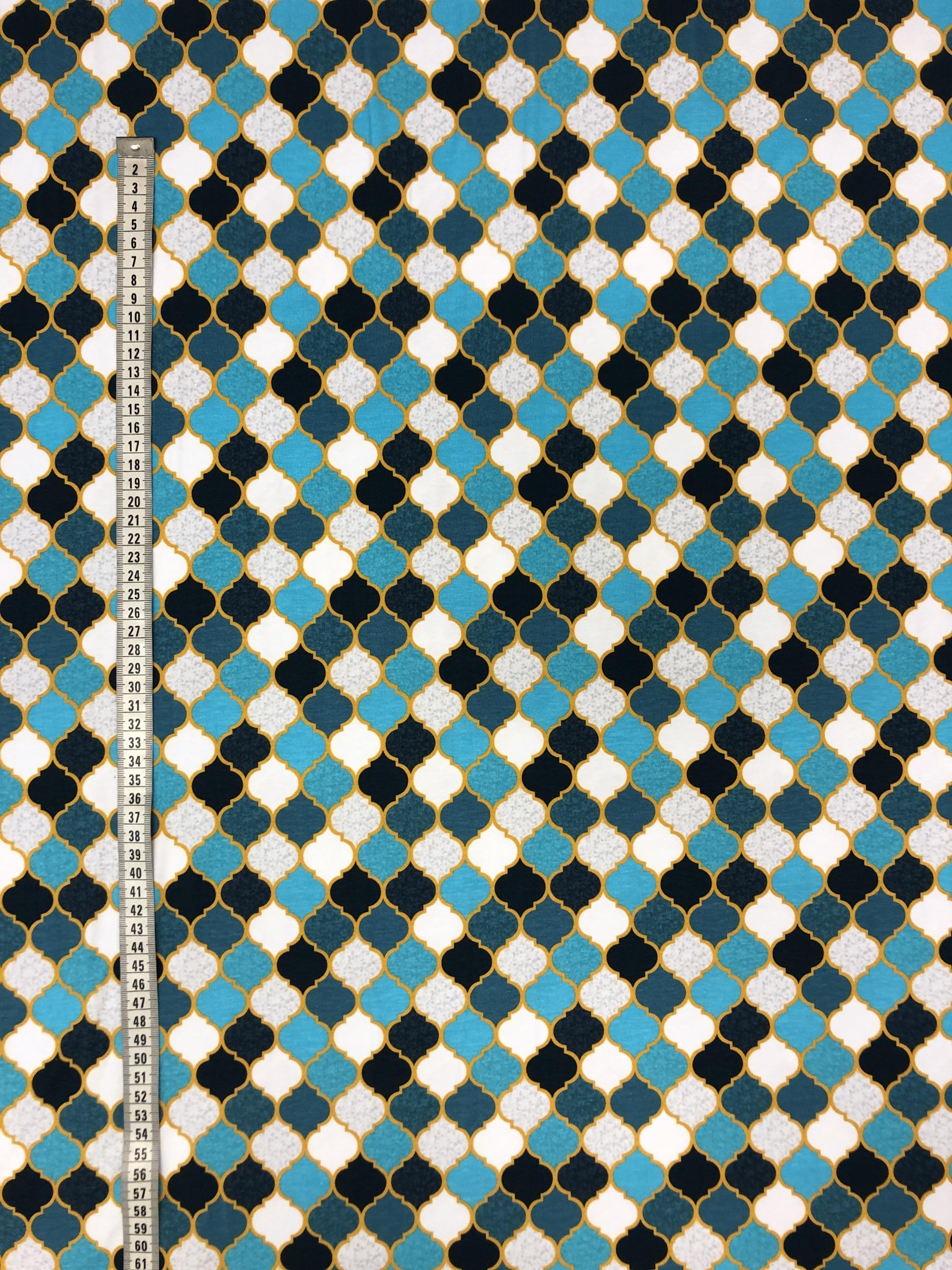 marocko blå vit mönster bomullstrikå trikå metervara tyglust laholm