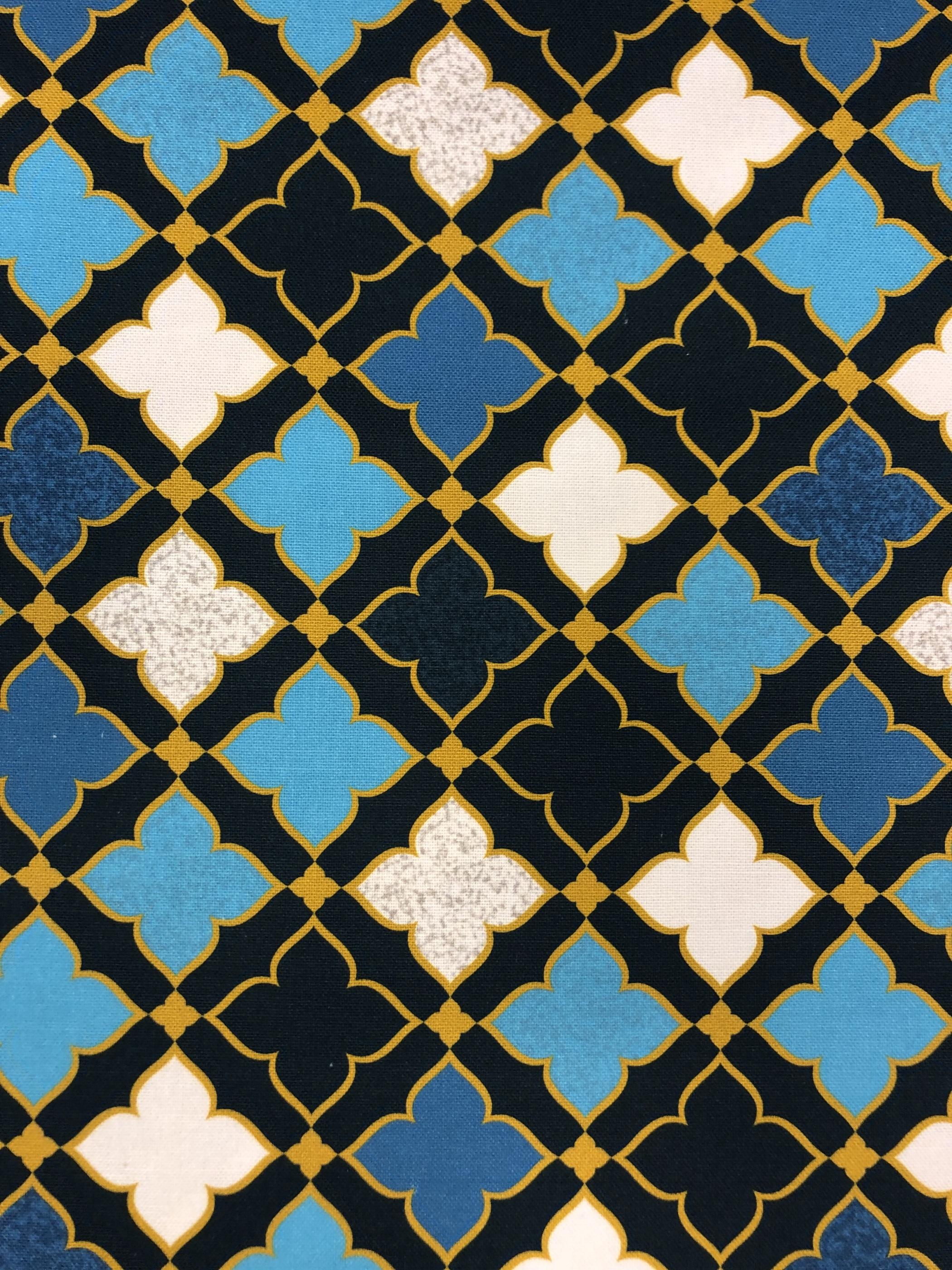 nadja blå bomullsväv bomull metervara hemtextil modetyg tyglust laholm