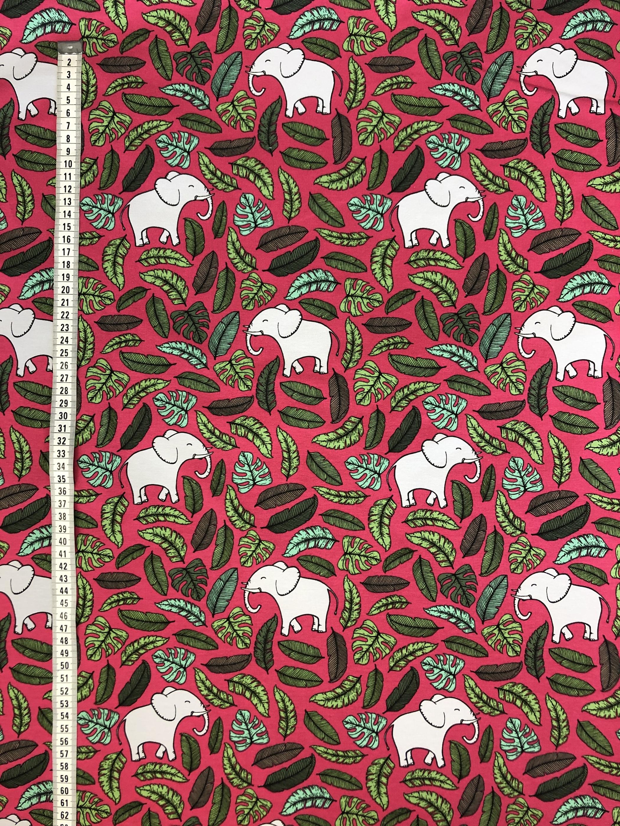 rosa elefant trikå bomullstrikå barntyg metervara laholm tyglust