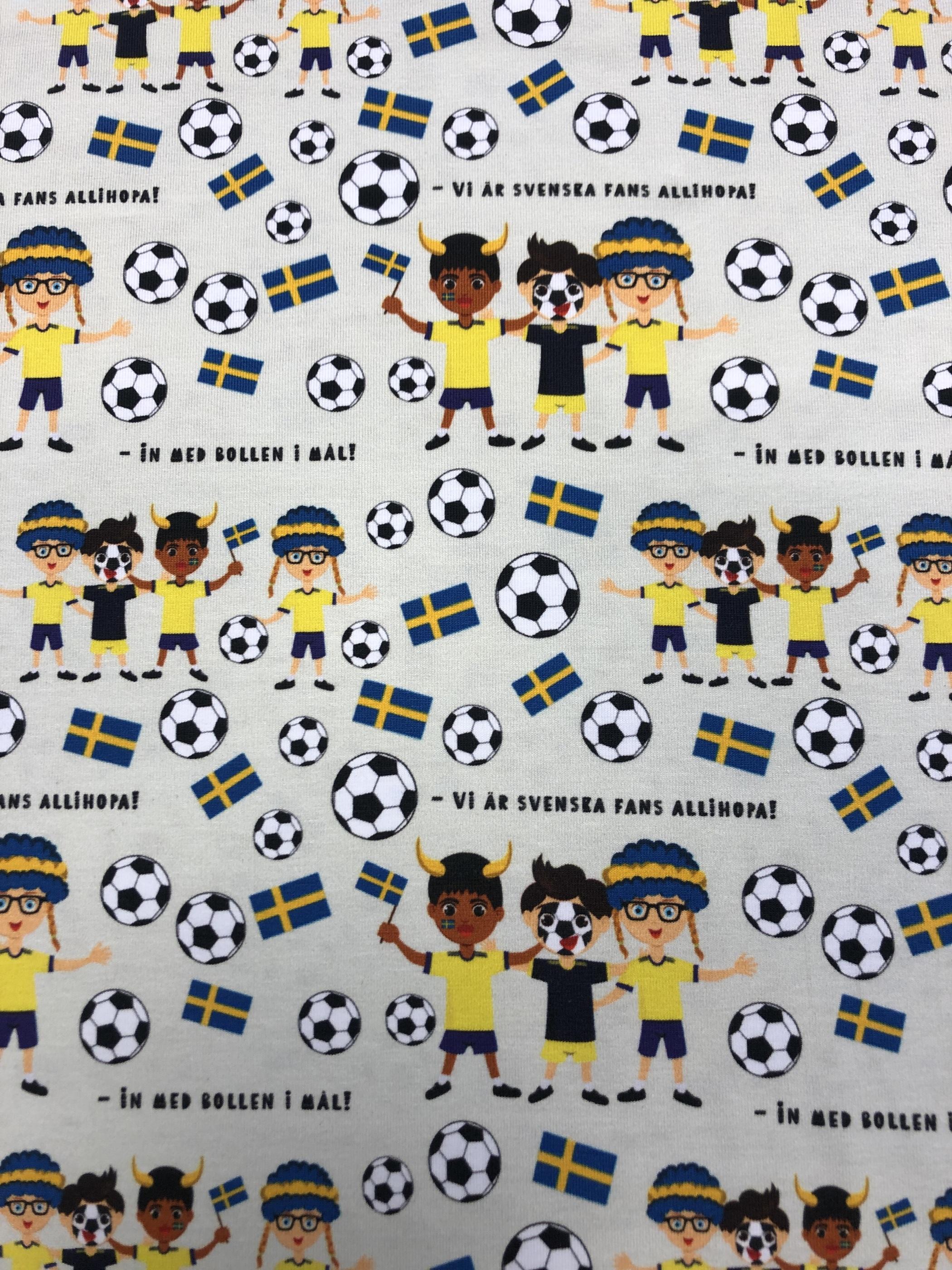 bomullstrikå sverige fotboll heja flagga barntyg trikå ljusgrön pastell tyglust laholm metervara