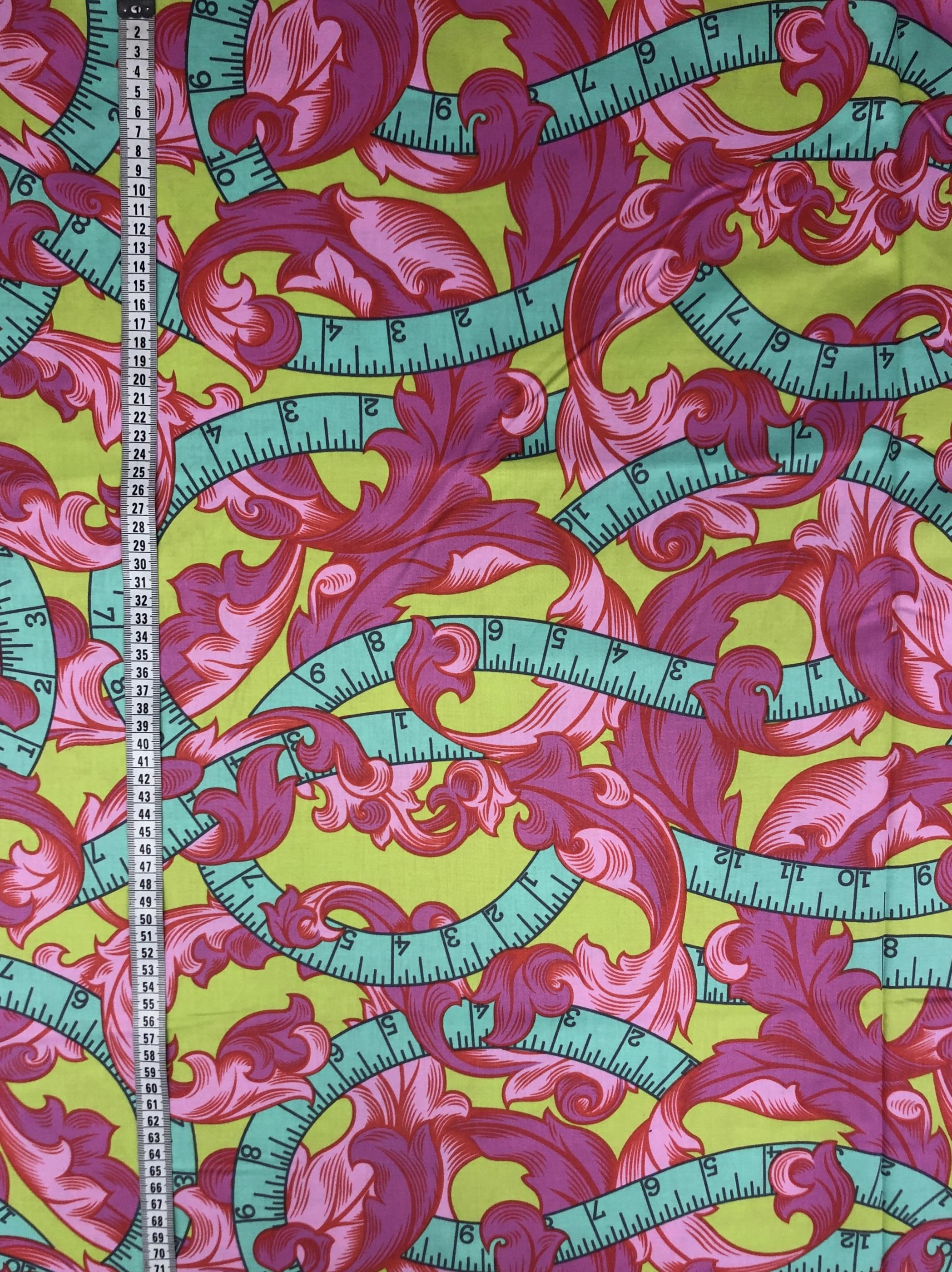måttband metervara rosa grön blå djungel dubbel bredd modetyg hemtextil tyglust laholm