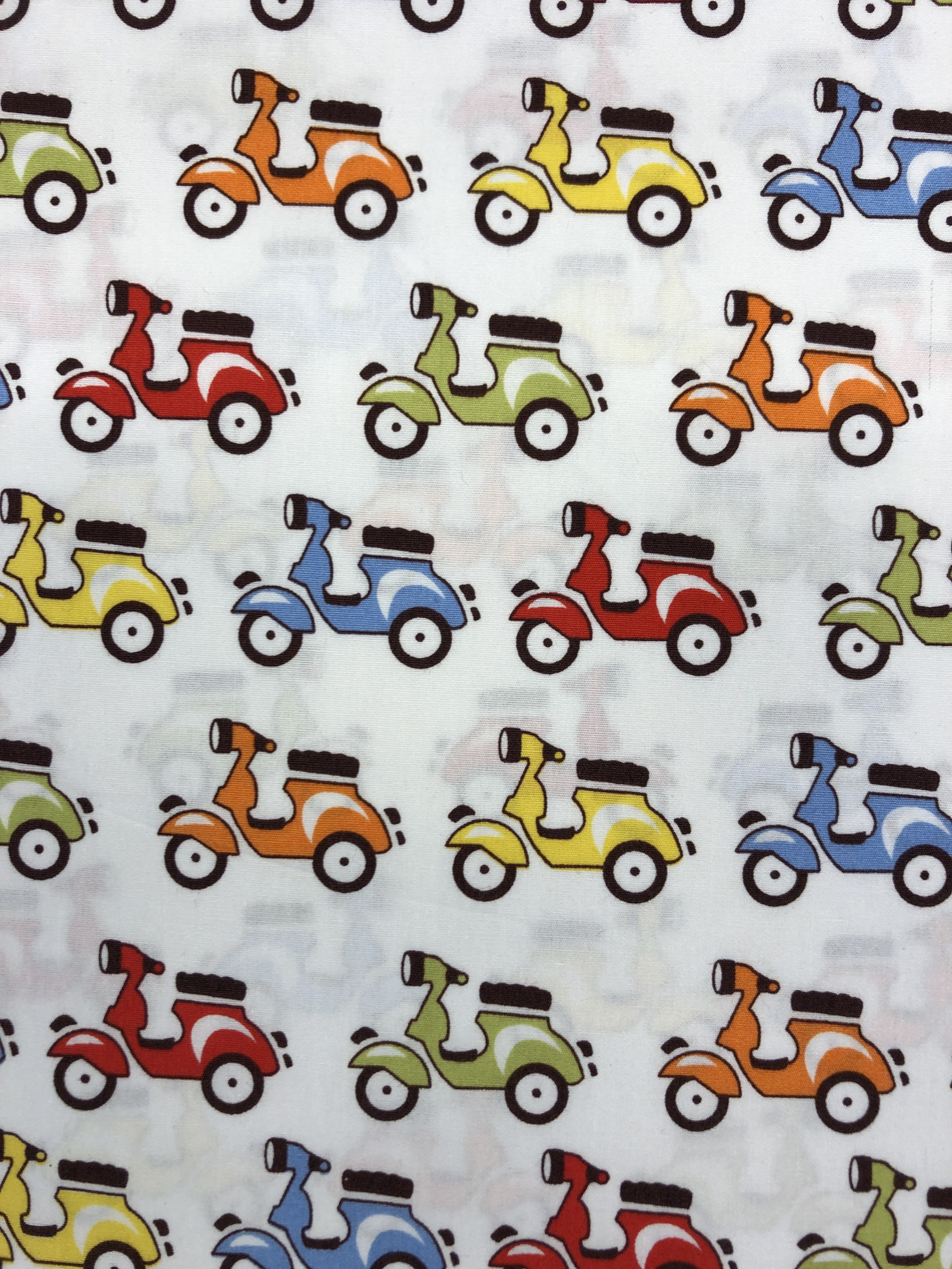 mopeder bomullsväv bomull färgglada vit orange grön röd gul blå metervara tyglust laholm modetyg barntyg