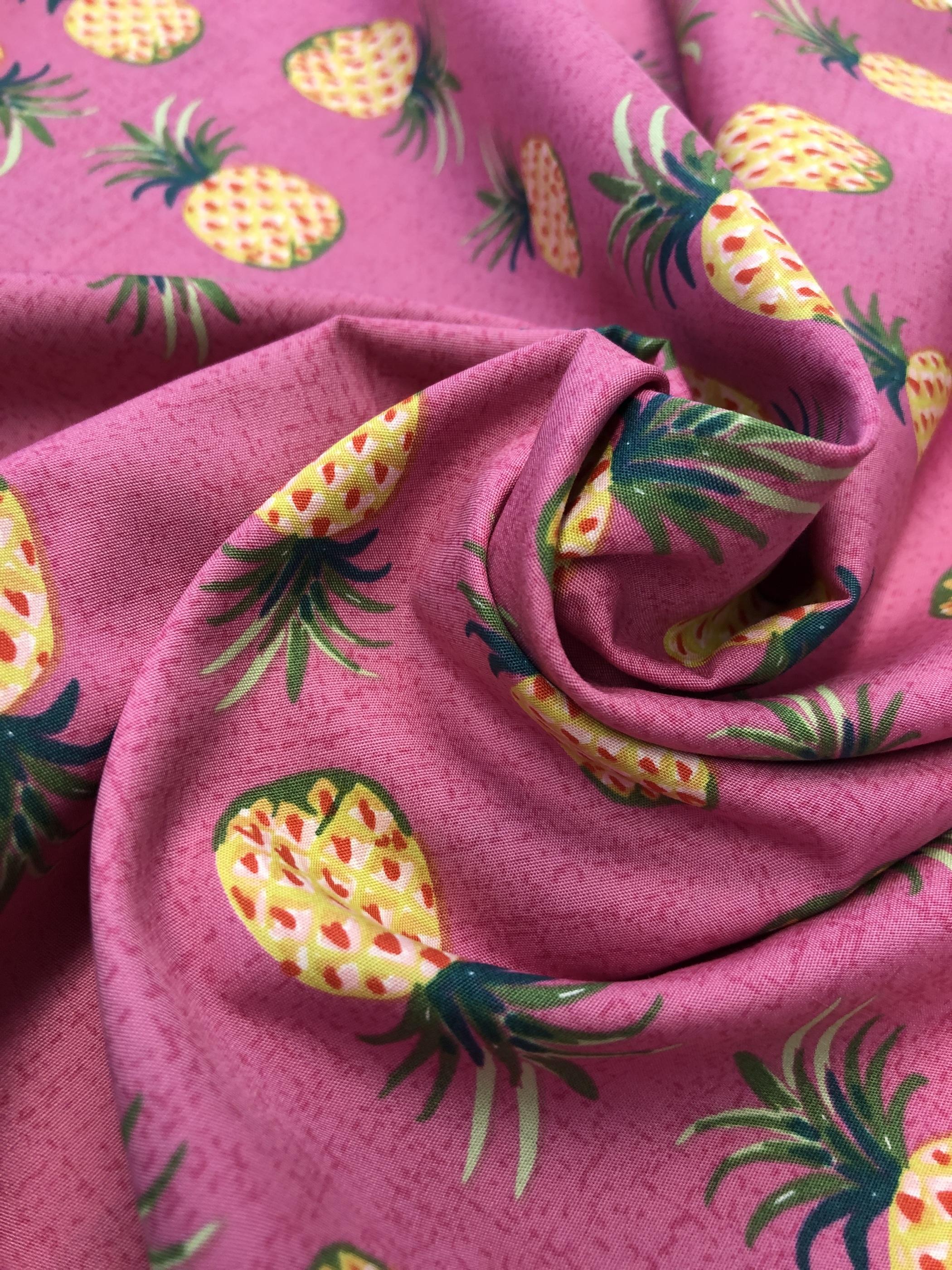 rosa cerise ananas bomull bomullsväv metervara gul modetyg tyglust laholm