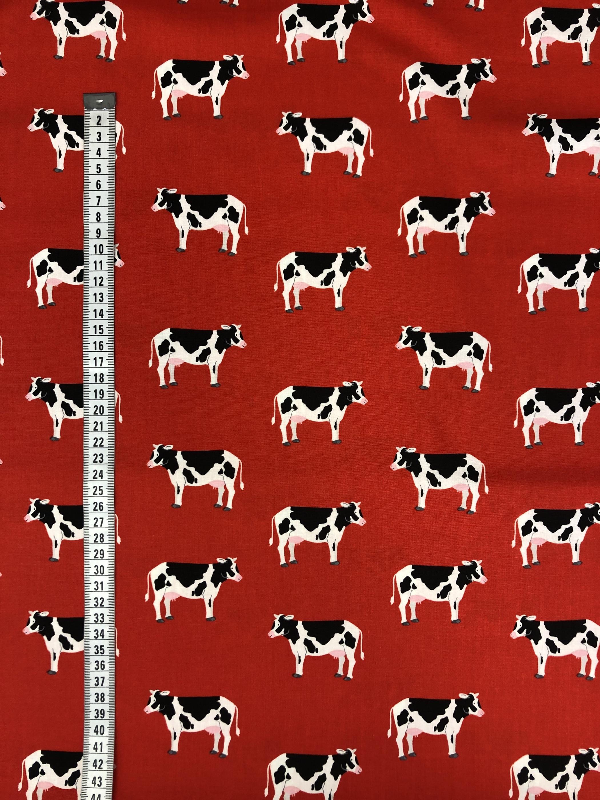 kossor ko röd bomull bomullsväv metervara modetyg barntyg tyglust laholm