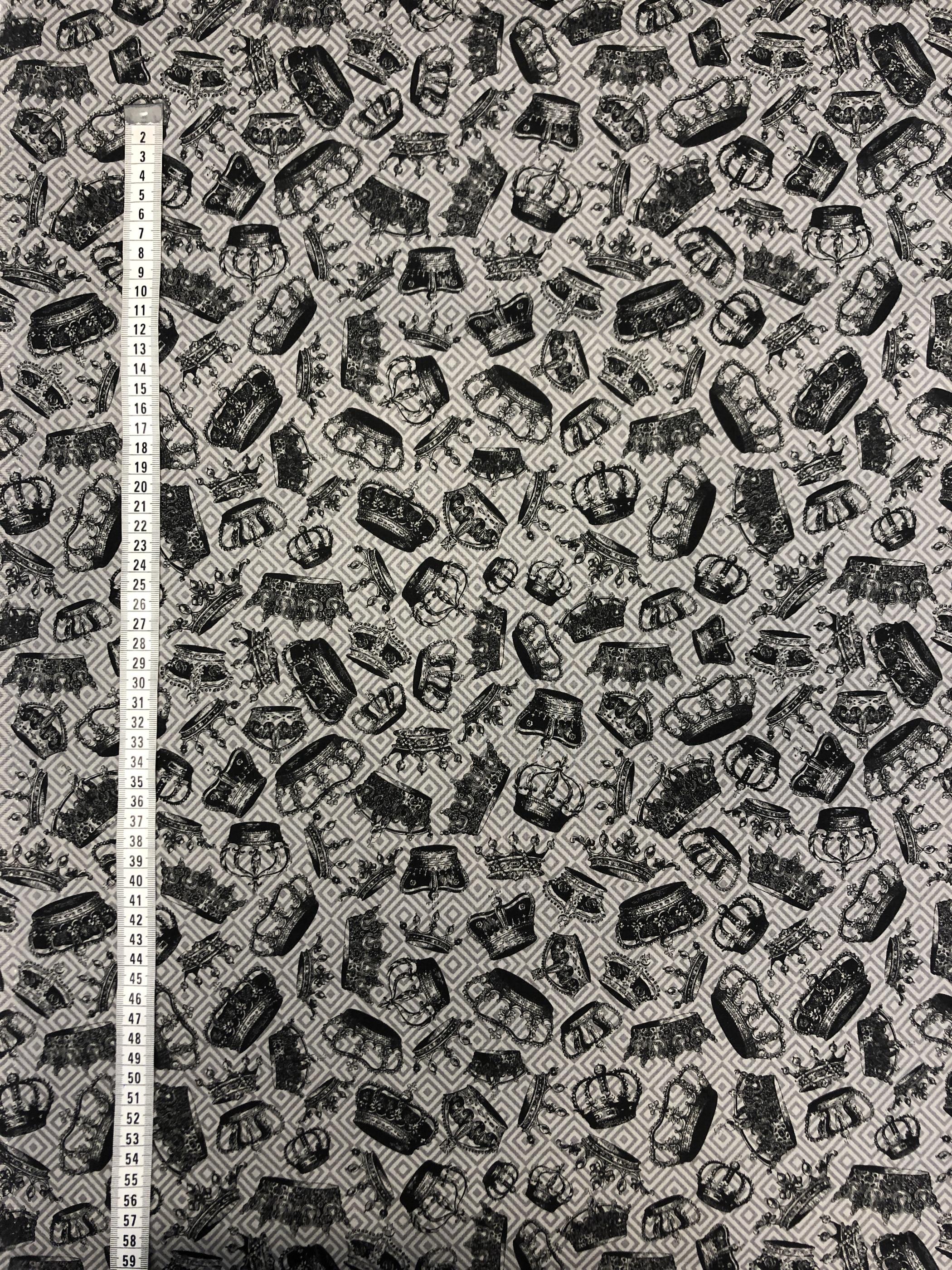 kronor kungakrona prinsesskrona grå nörkgrå metervara nodetyg barntyg tyglust laholm bomullsväv