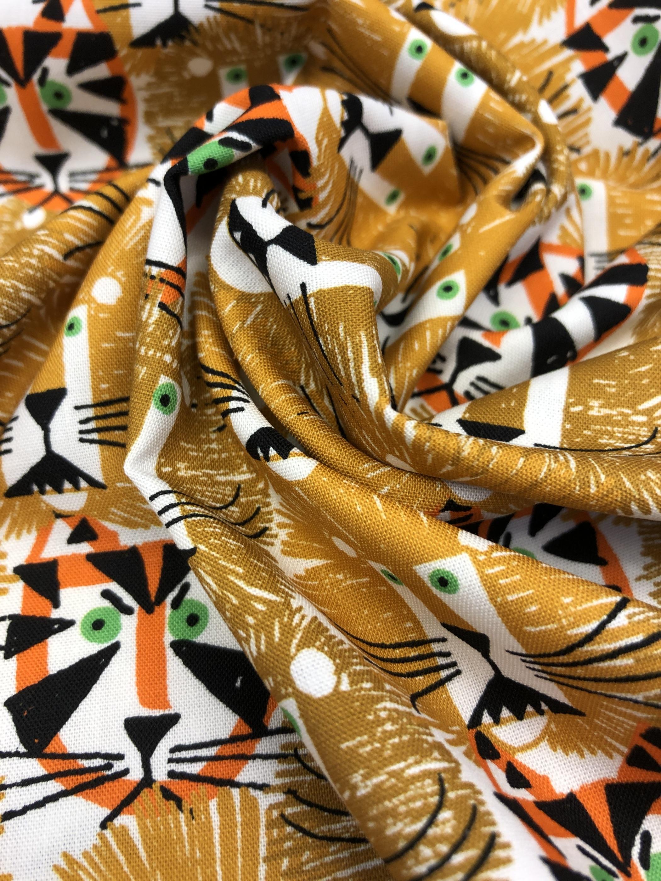 lejon tigrar barntyg modetyg metervara gul orange bomullstyg tyglust laholm