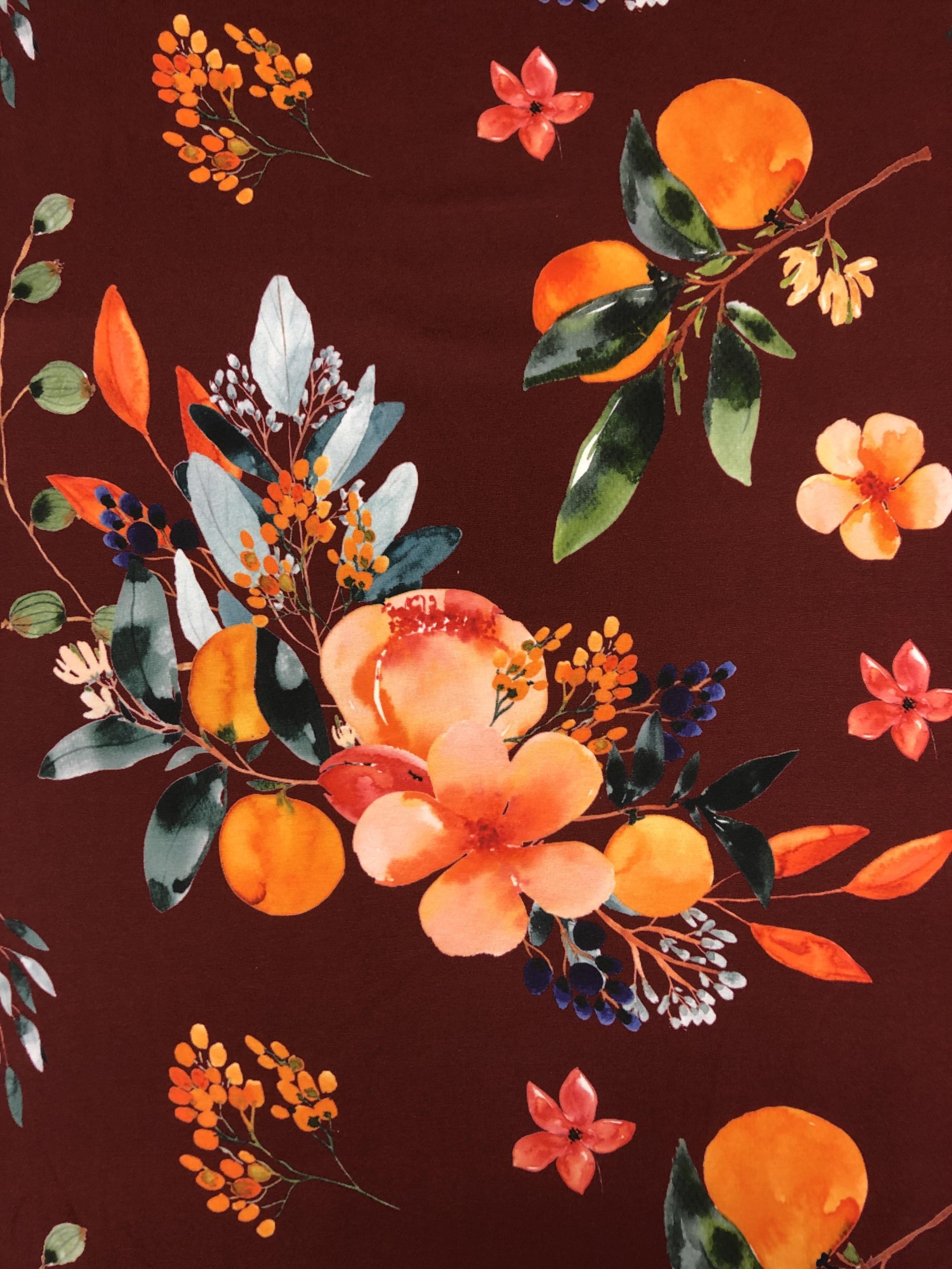 bellis bomullstrikå  vinröd blommor blad metervara tyglust laholm