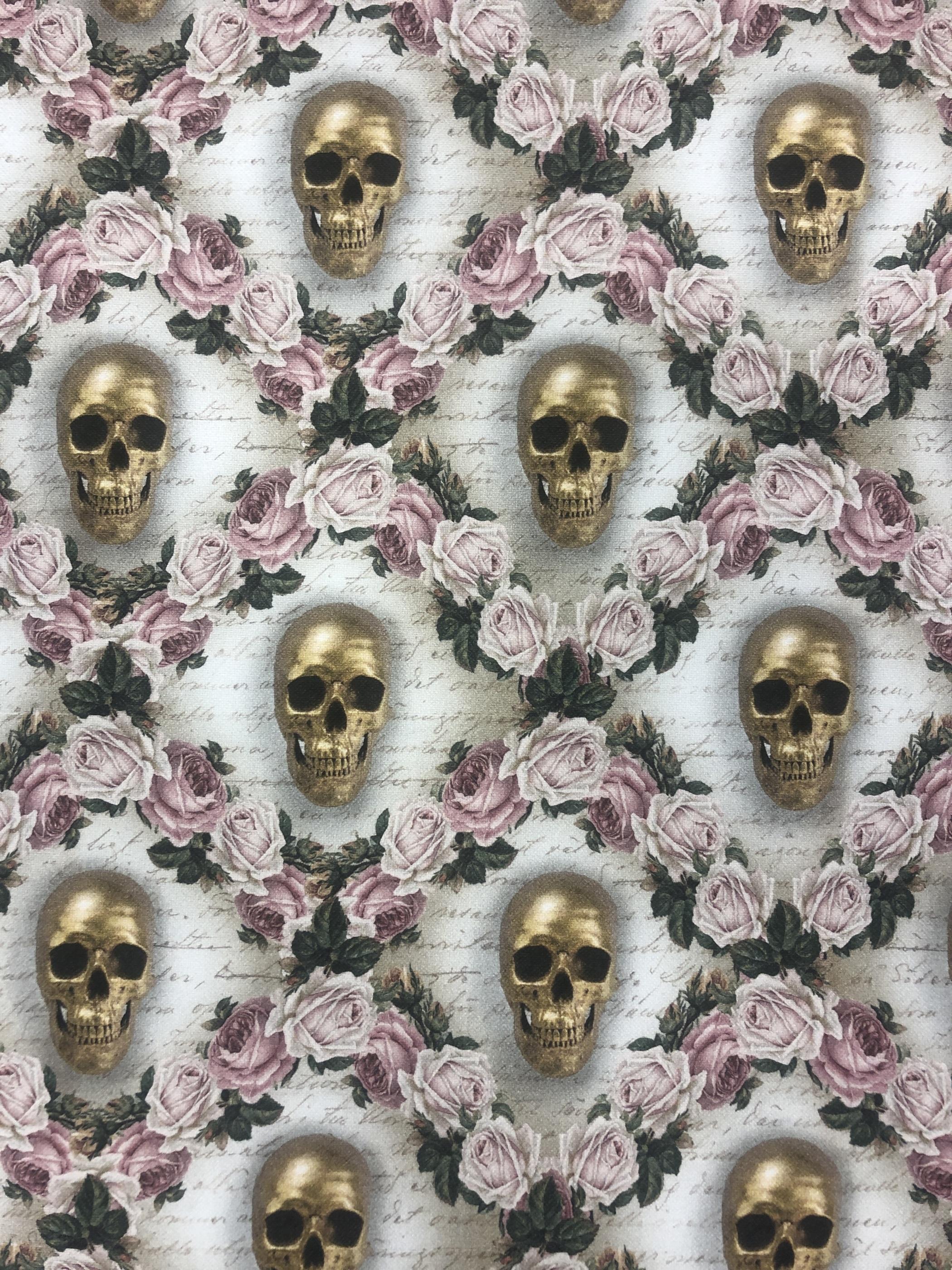 dödskallar guld blommor rosa metervara tyglust laholm