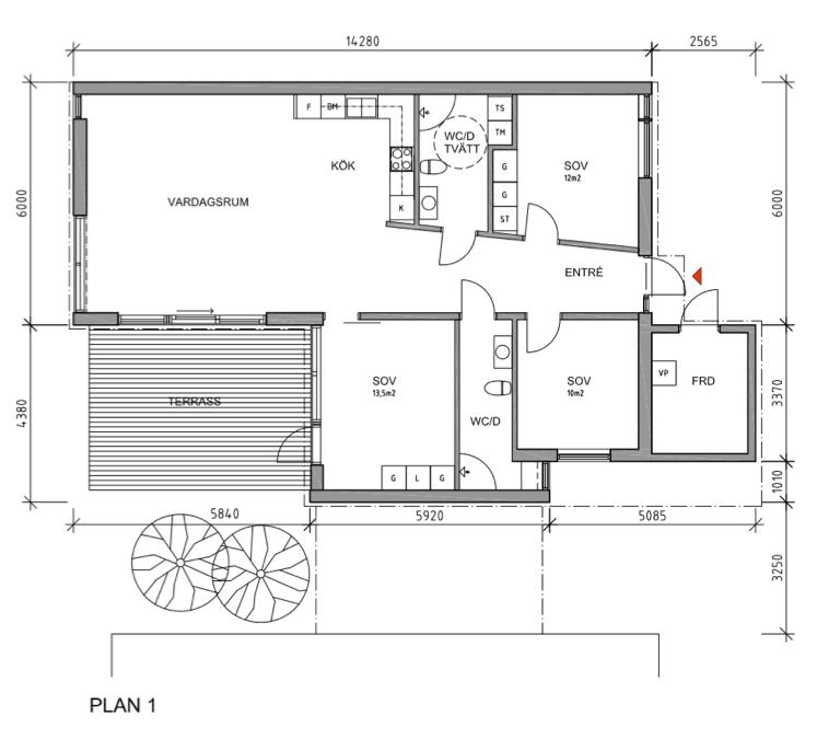"""Exempel på ändring av planlösningen på 1-planshuset, så att 3 sovrum har erhållits på samma area som i """"bashuset"""". Klicka på bilden för större format."""