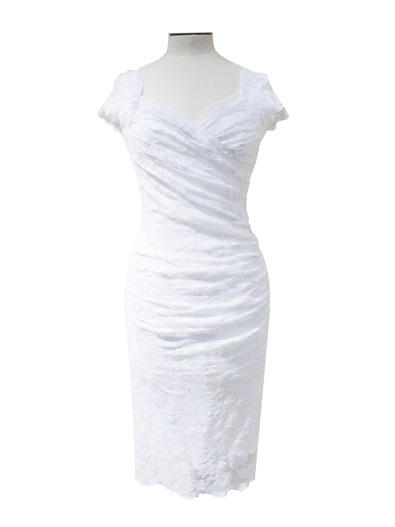 Olvis' Svarowski Lace Dress White