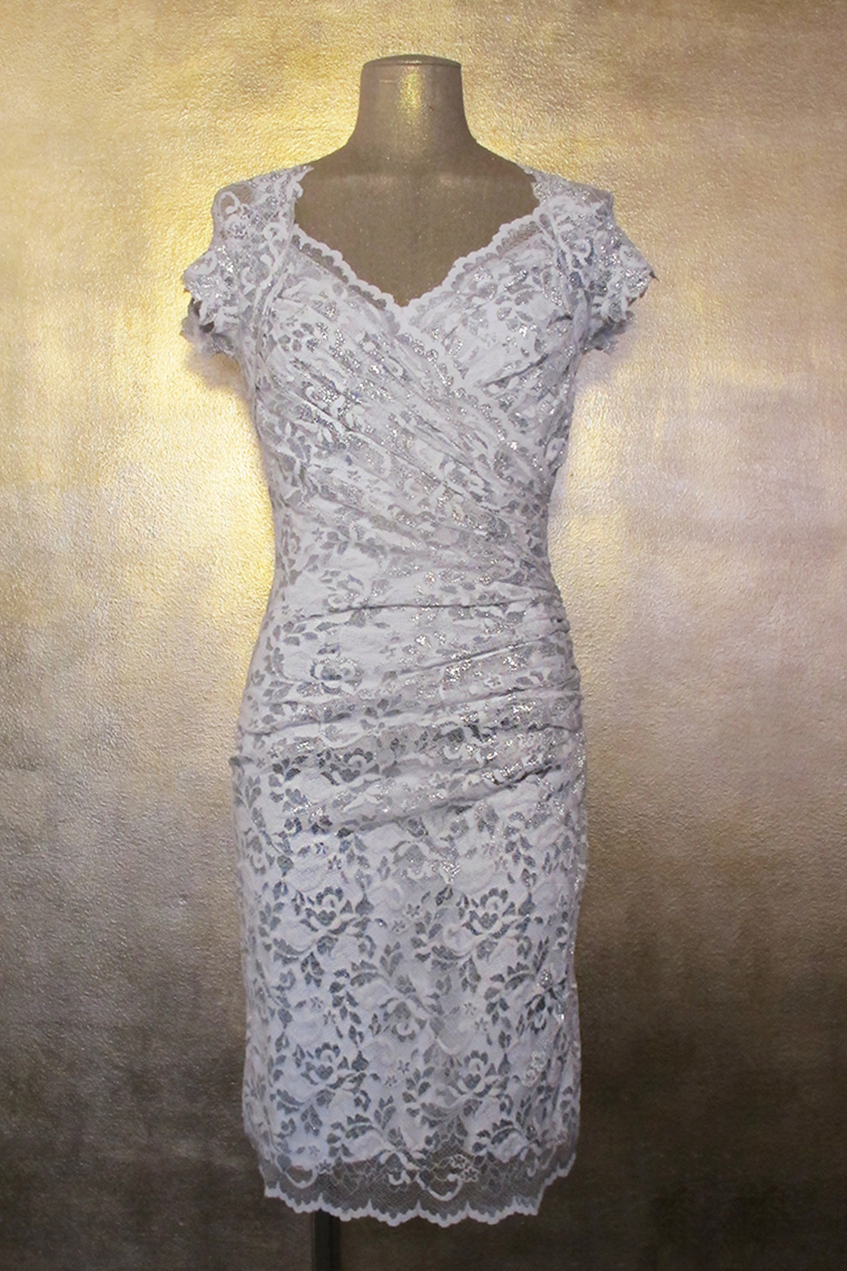 Olvis' Shimmer Lace Dress White Silver