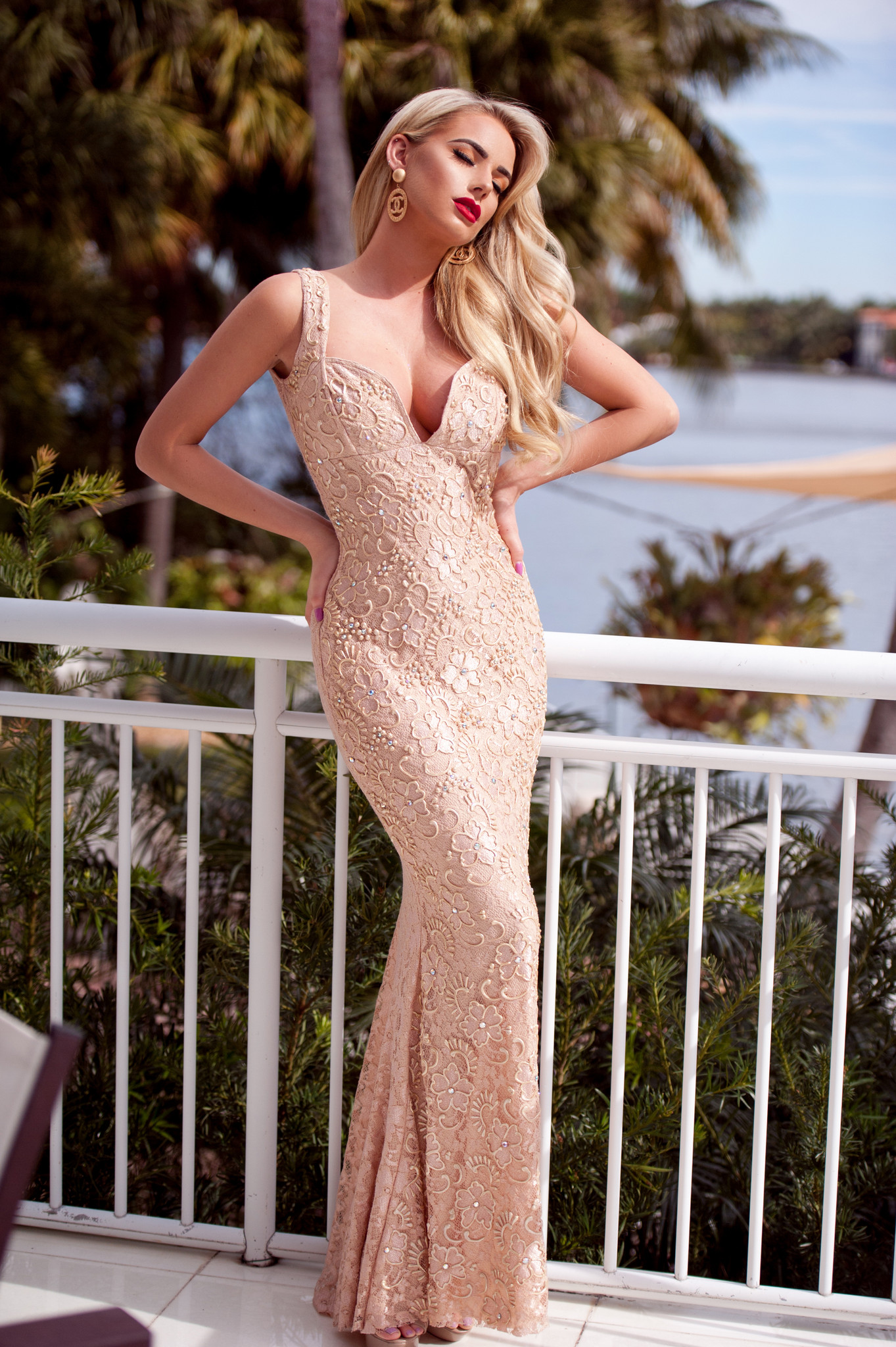Holt Miami Brie Lace Gown