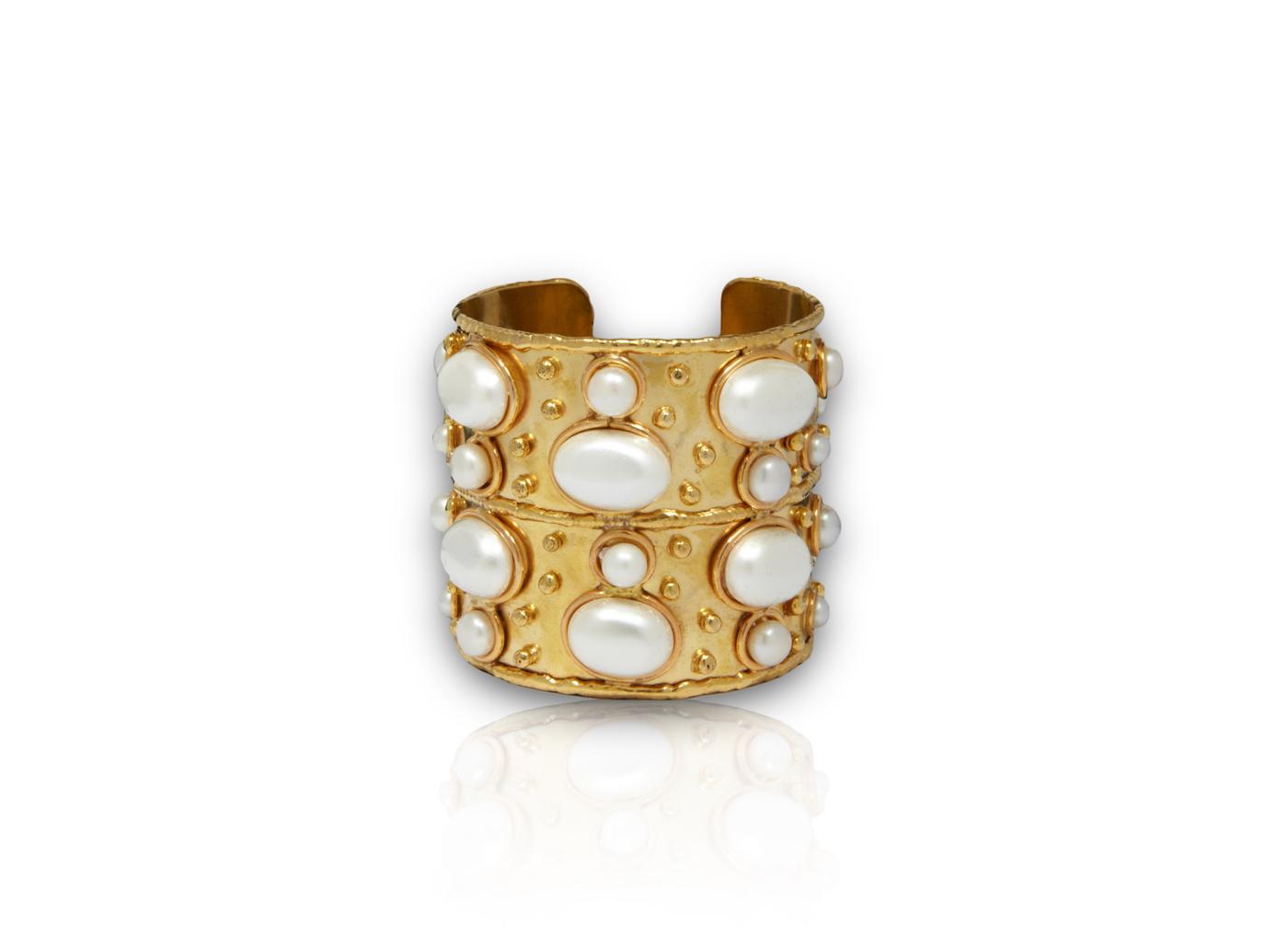 Sylvia Toledano Cuff Byzance Medium Bracelet with White Pearls