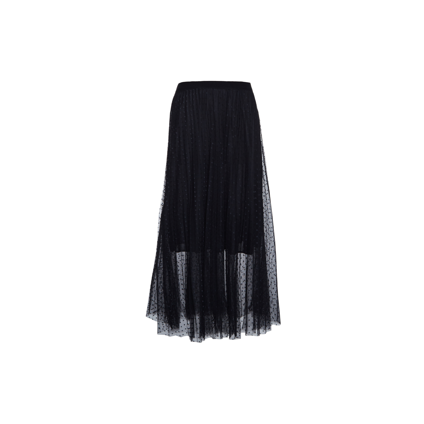Paris Picked Dotted Black Long Skirt With Pleats