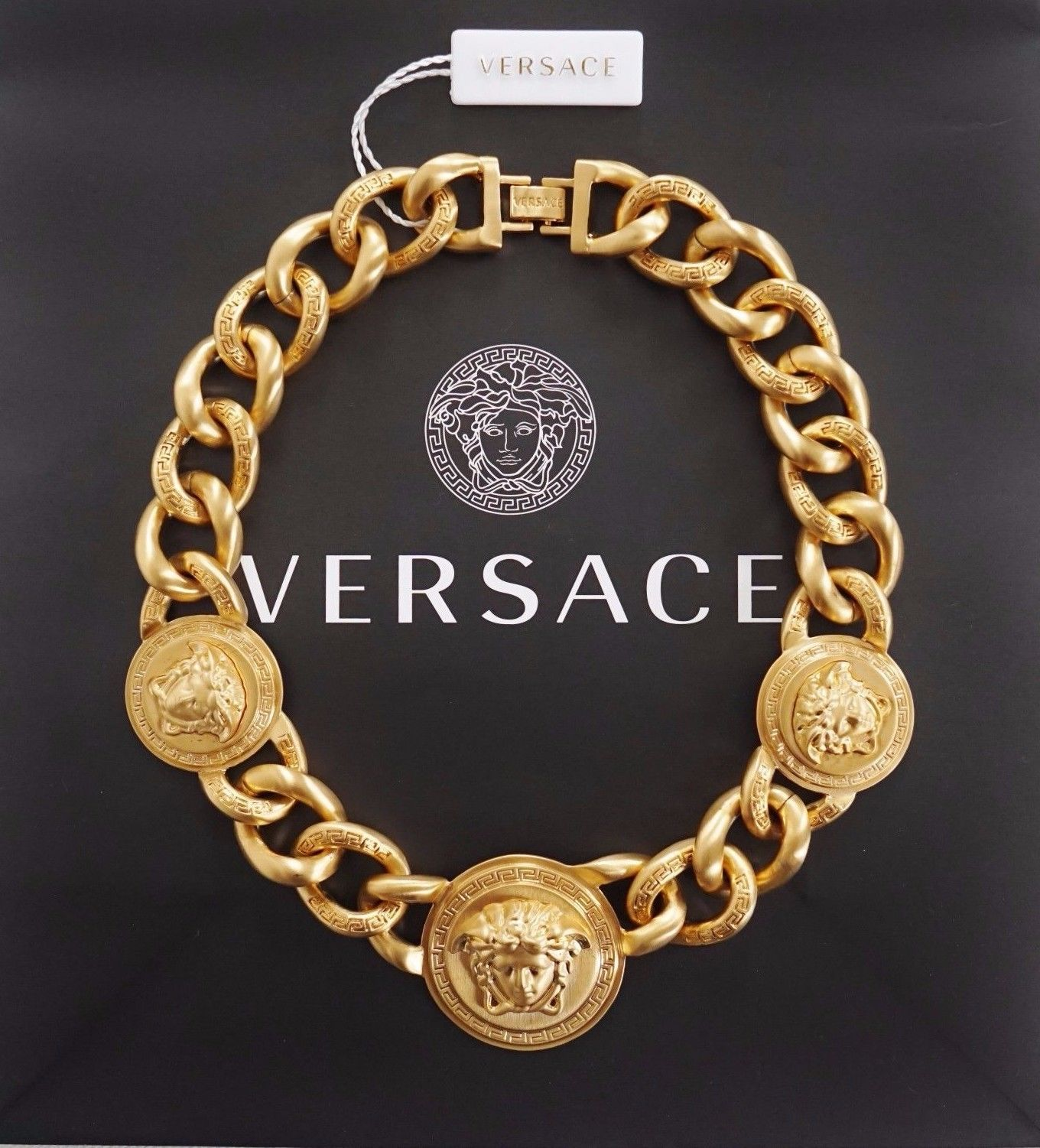 Versace Iconic 3 Medusa medallions chain necklace