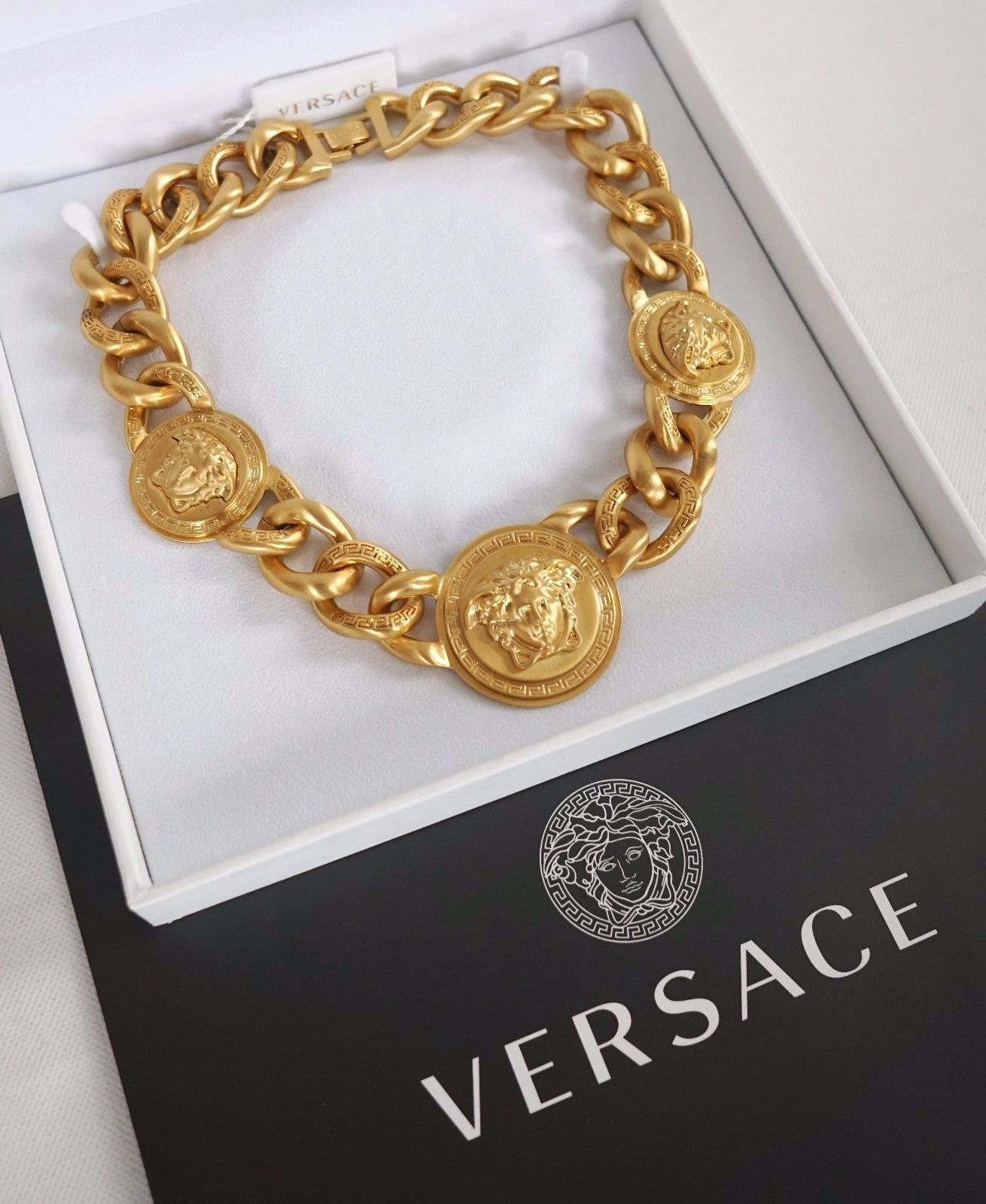 Versace Iconic 3 Medusa medallions chain necklace_2