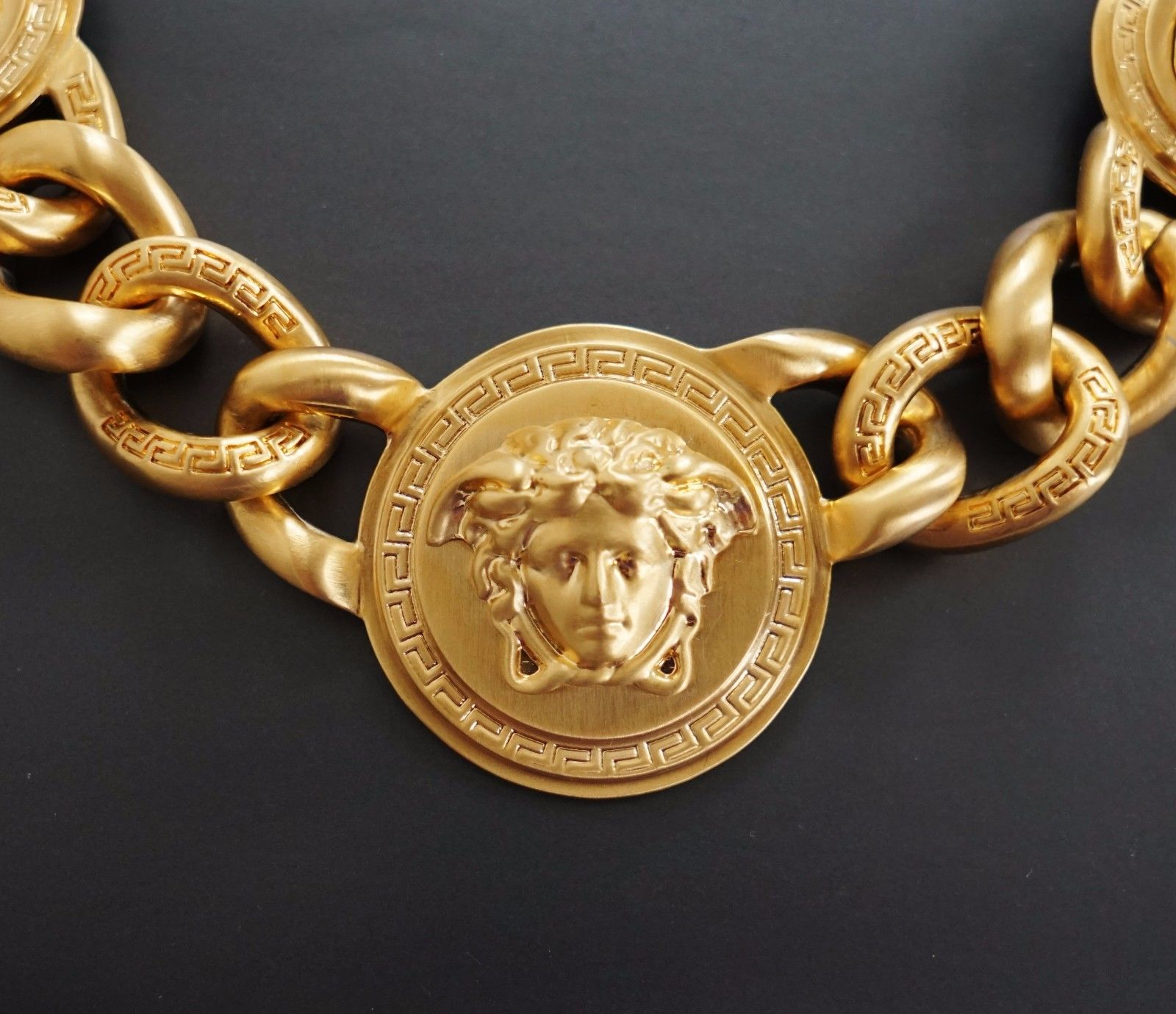 Versace Iconic 3 Medusa medallions chain necklace_3