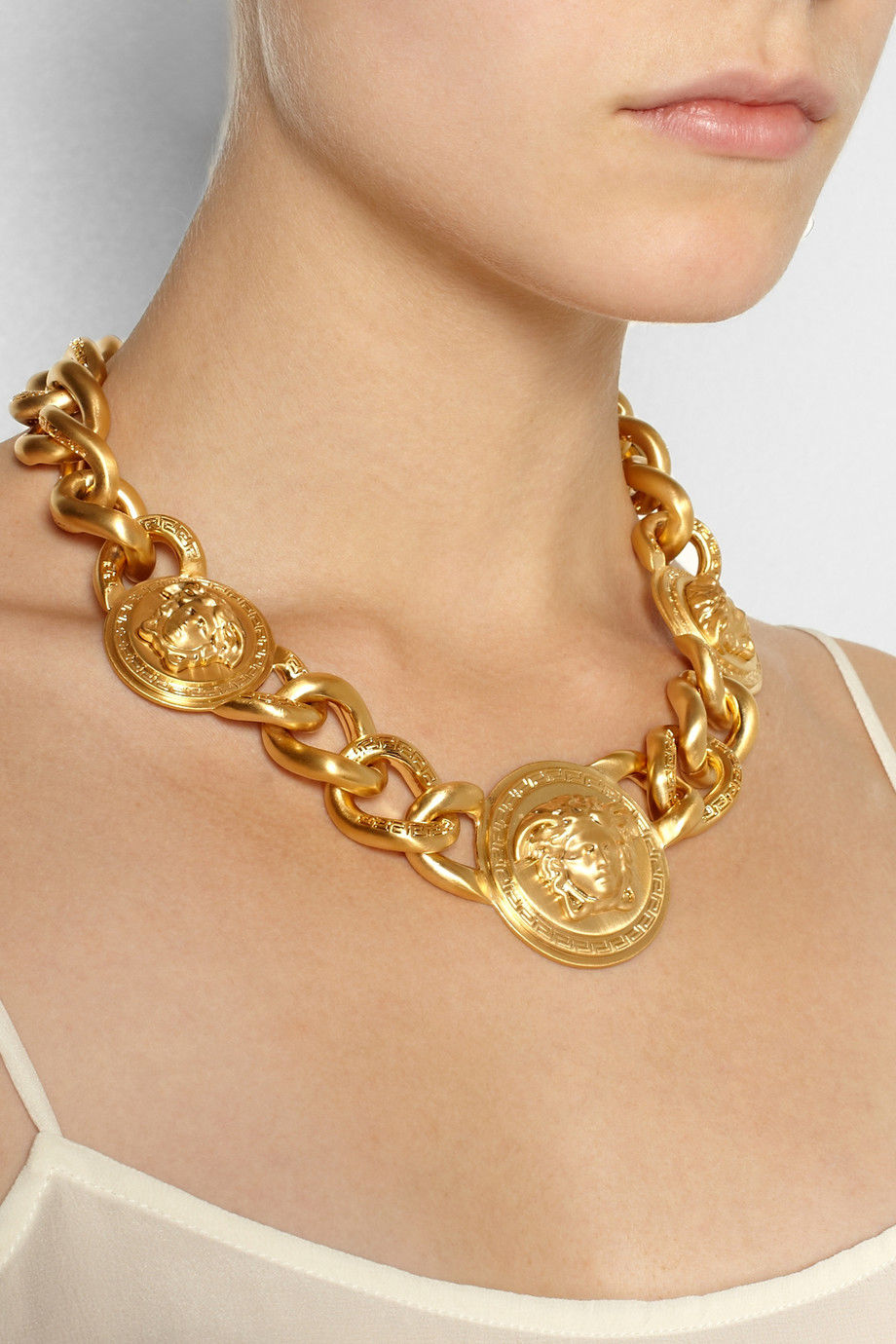 Versace Iconic 3 Medusa medallions chain necklace_6