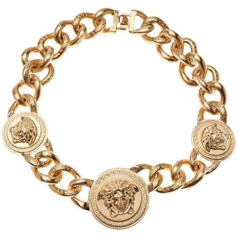 Versace Iconic 3 Medusa medallions chain necklace_0