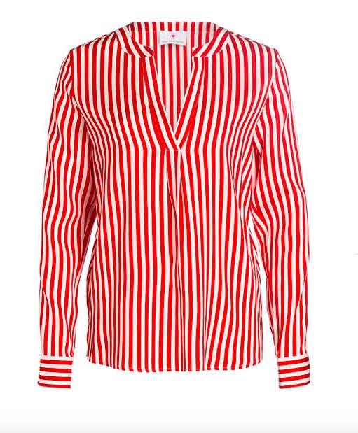 Herzen's Angelegenheit Striped Silk Blouse | red & white_1
