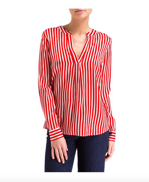 Herzen's Angelegenheit Striped Silk Blouse | red & white_2
