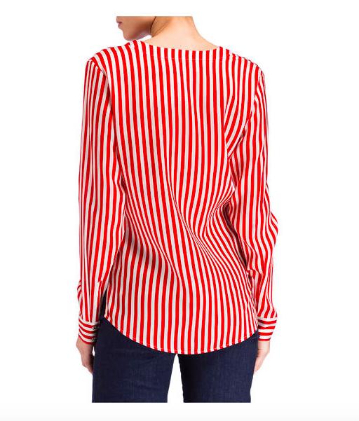 Herzen's Angelegenheit Striped Silk Blouse | red & white_3