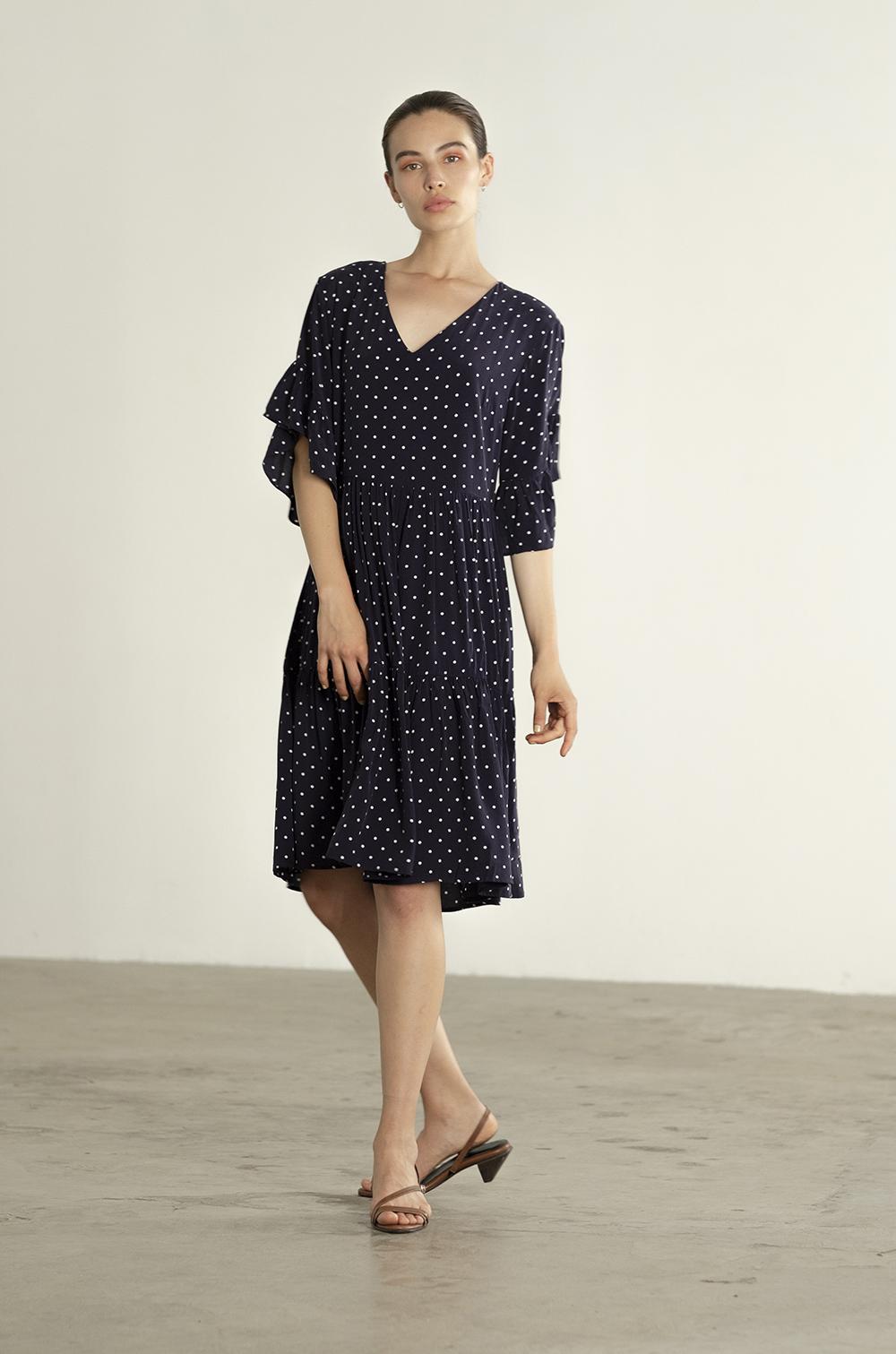 Maria Stanley Spring 2019 Gayle dress cupro navy polka dot 01