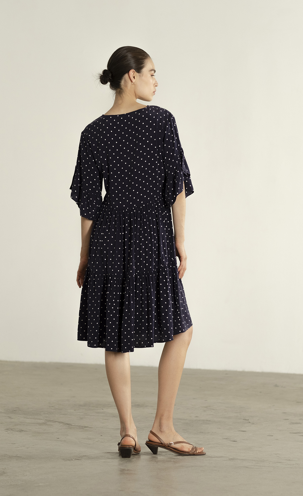 Maria Stanley Spring 2019 Gayle dress cupro navy polka dot 03