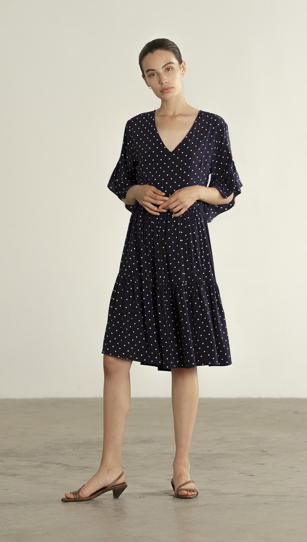 Maria Stanley Spring 2019 Gayle dress cupro navy polka dot 05