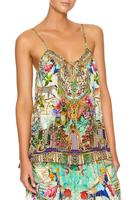 CAMILLA SILK STRAP TOP WITH TIE FRONT DETAIL | CHAMPAGNE COAST PRINT