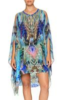 CAMILLA SHEER SILK LAYERED DRESS WITH SPLIT | FREEDOM FLIGHT PRINT