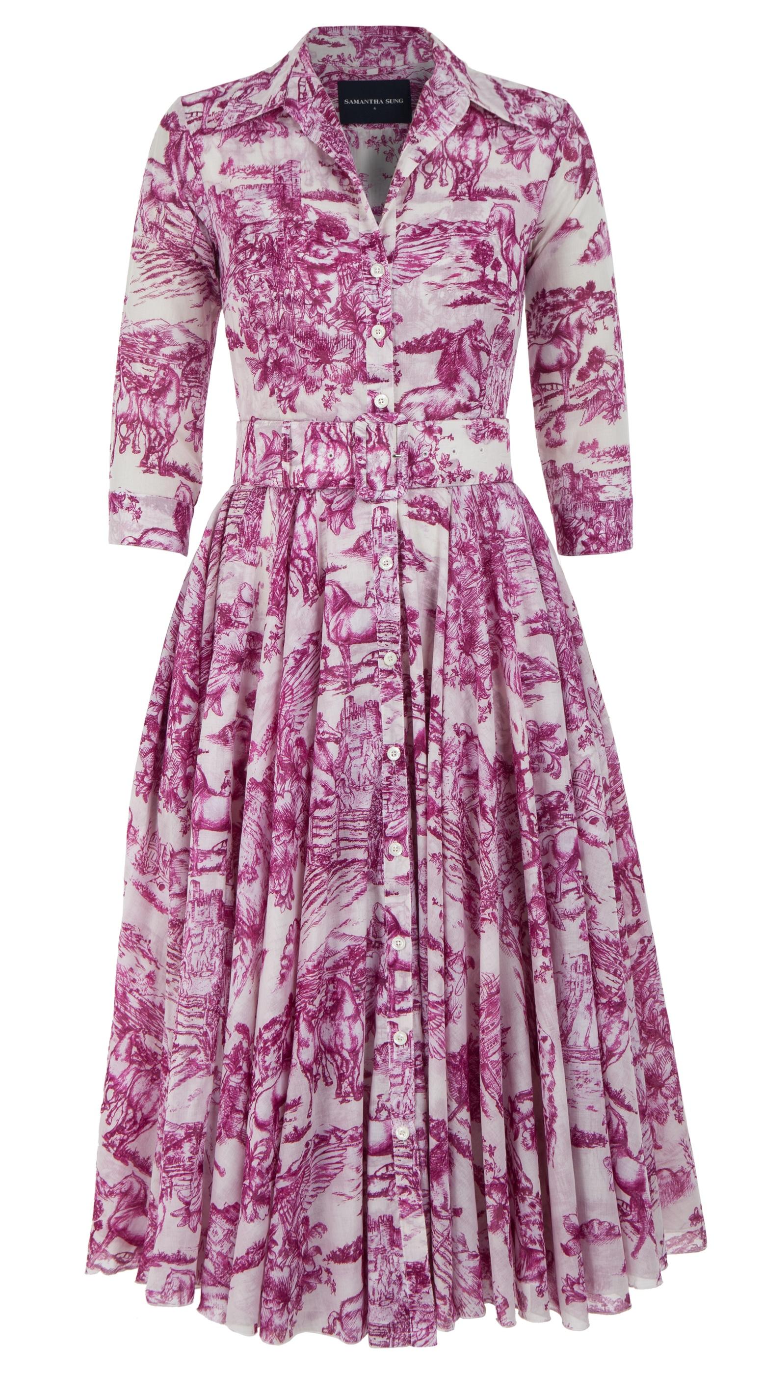 Da Vinci Toile White_White Pink_Aster Dress Shirt Collar 3-4 Sleeve_Midi_Musola_Front-2