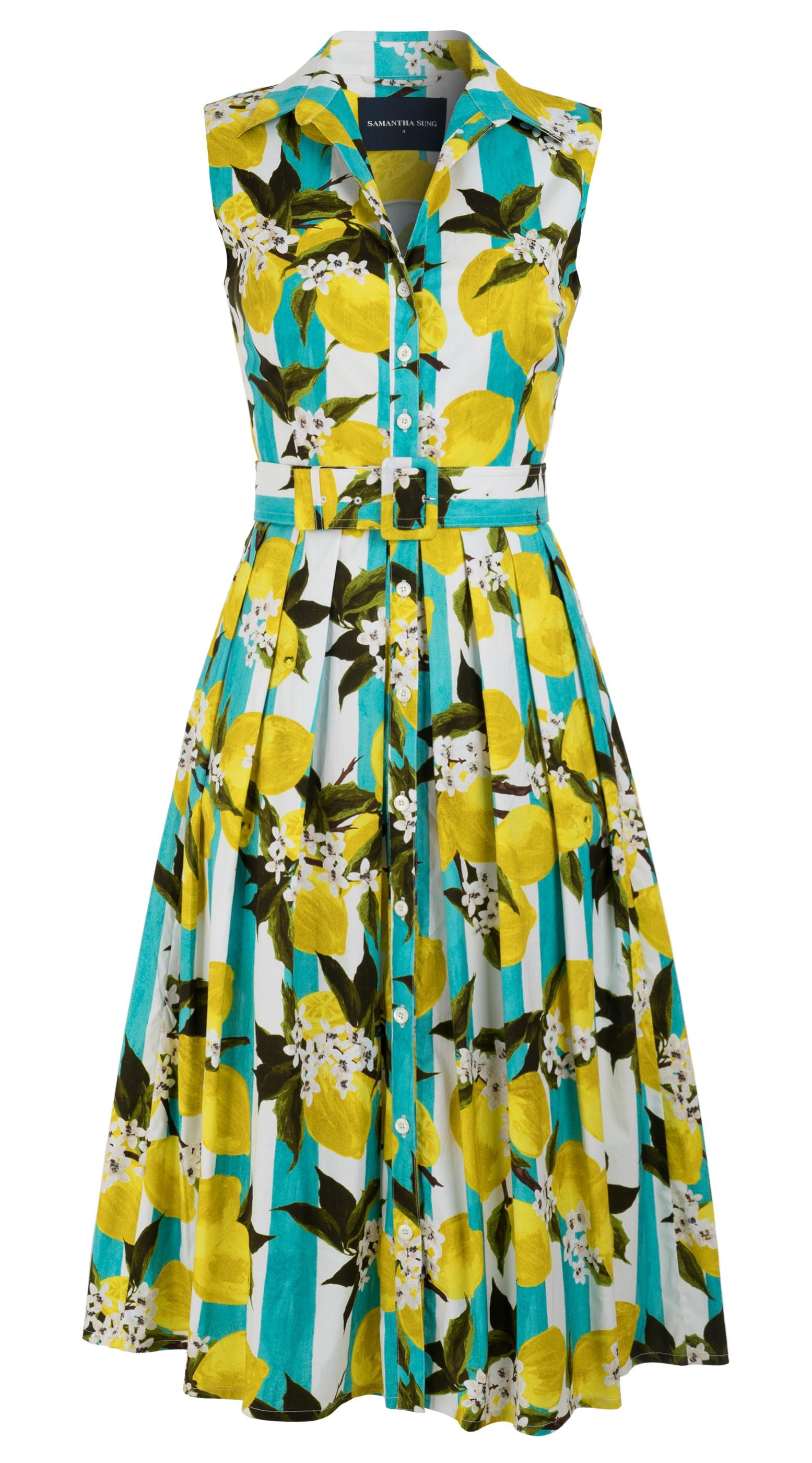 Lemon Stripe_Aqua Yellow_Audrey Dress #1 Shirt Collar Sleeveless_Midi_CS_Front-2