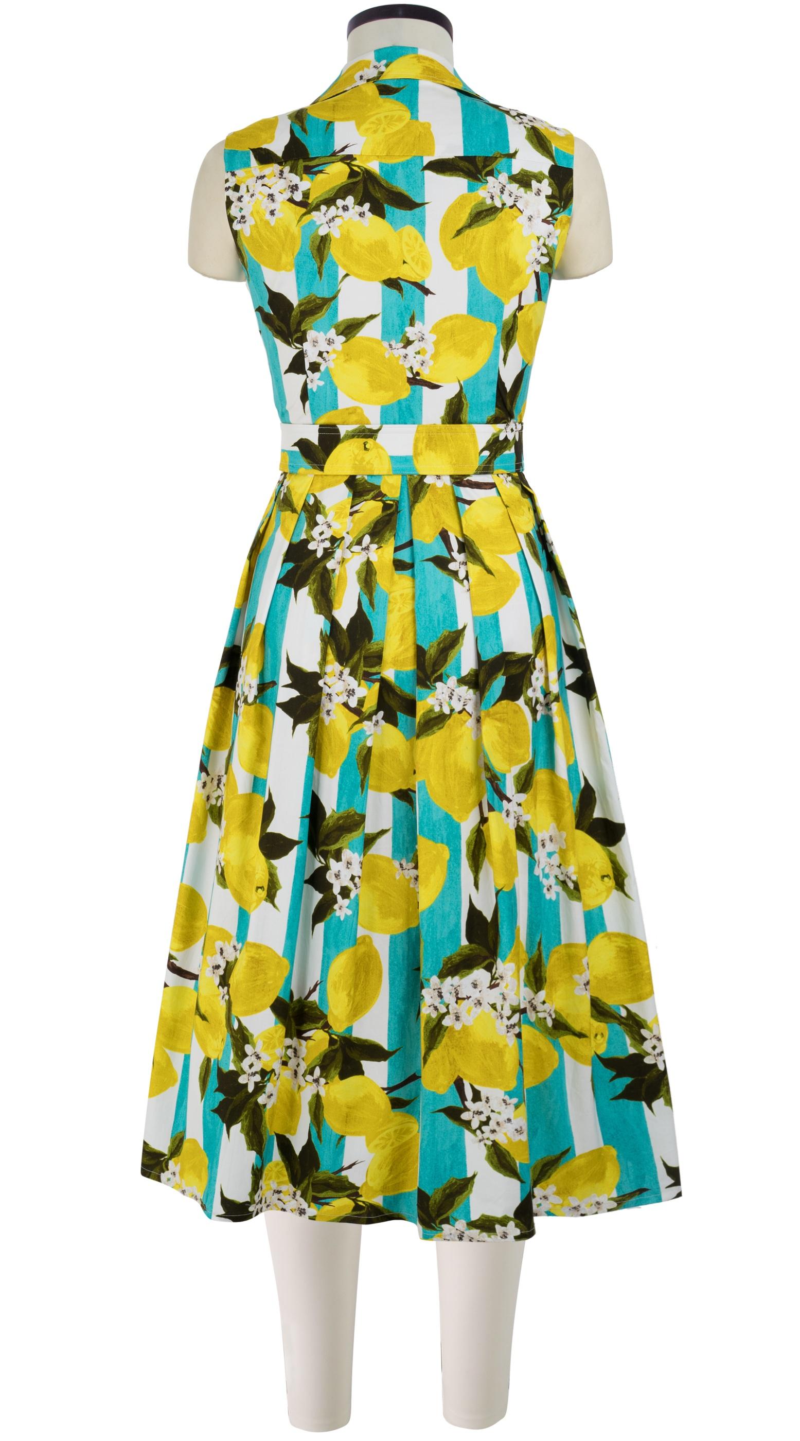 Lemon Stripe_Aqua Yellow_Audrey Dress #1 Shirt Collar Sleeveless_Midi_CS_Back-1