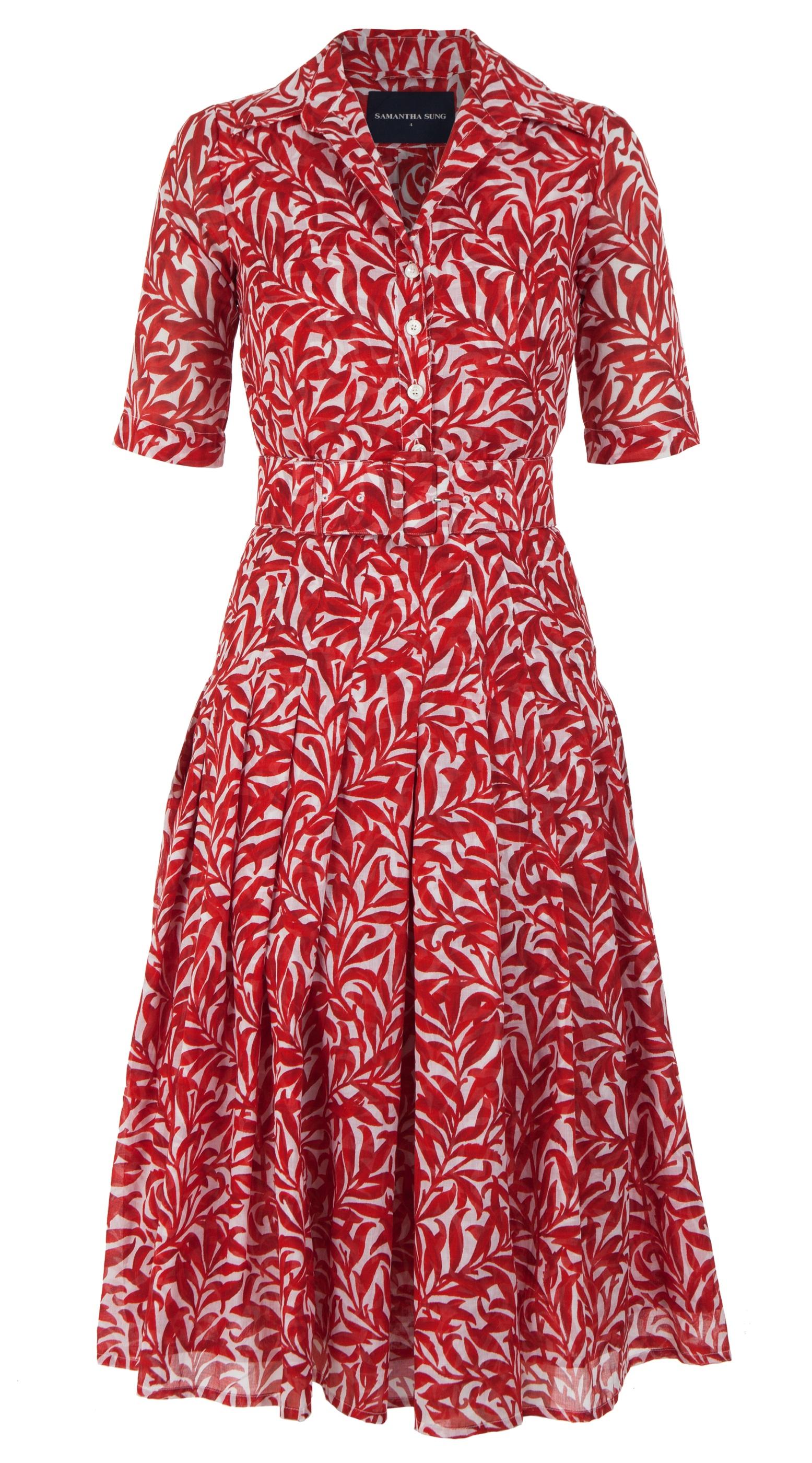 Morris Leaves_White Red_Zeller Dress Shirt Collar 1-2 Sleeve_Midi_Musola_Front-2