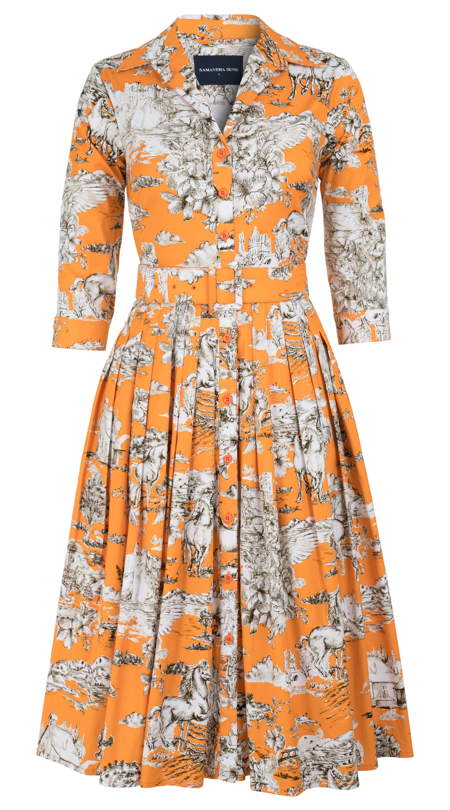 Da Vinci Toile Multi_Orange Khaki_Audrey Dress #2 Shirt Collar 3-4 Sleeve_Long_CS_Front-2