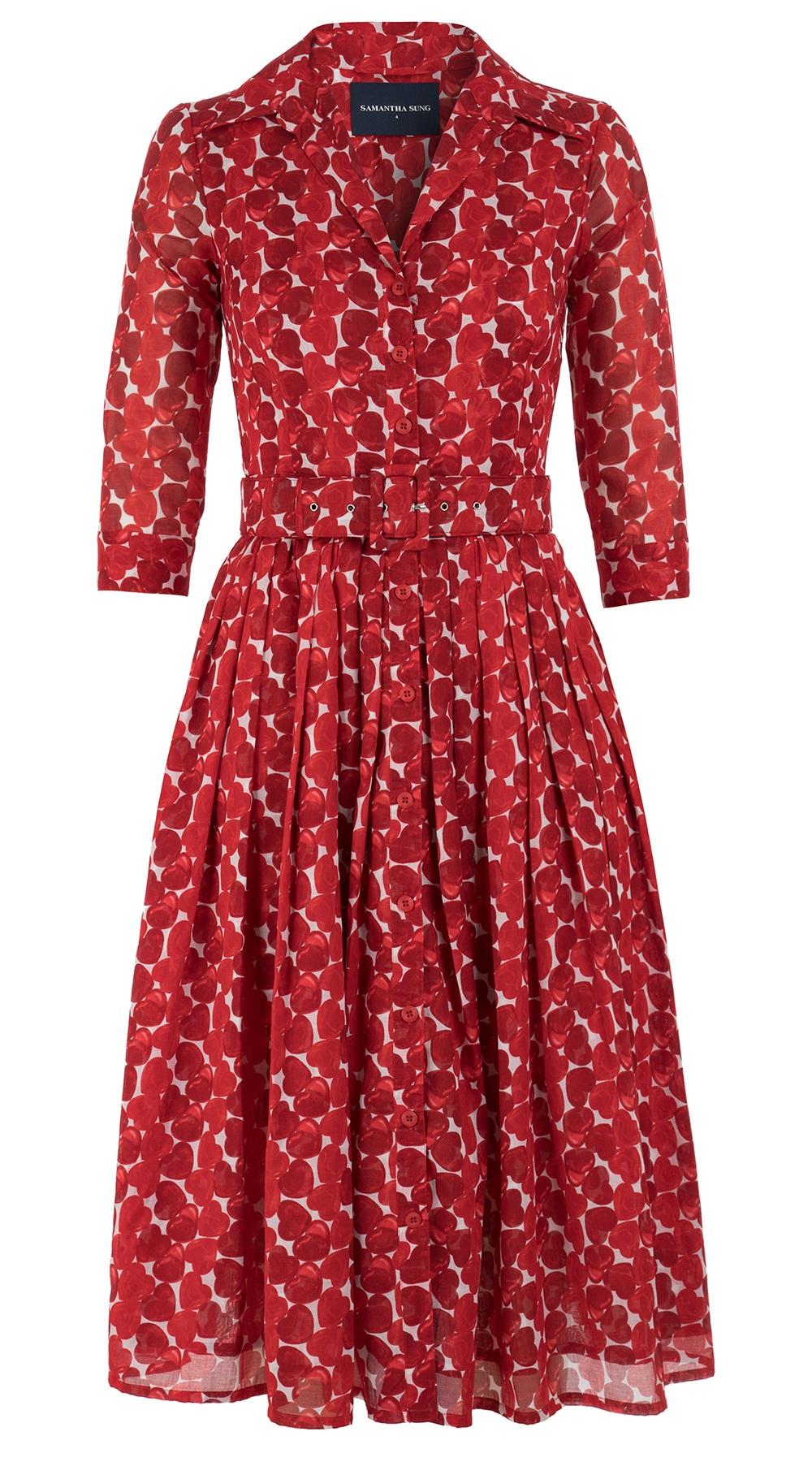 Cezanne Heart_White Red_Audrey Dress #2 Shirt Collar 3-4 Sleeve_Midi_Musola_Front-2