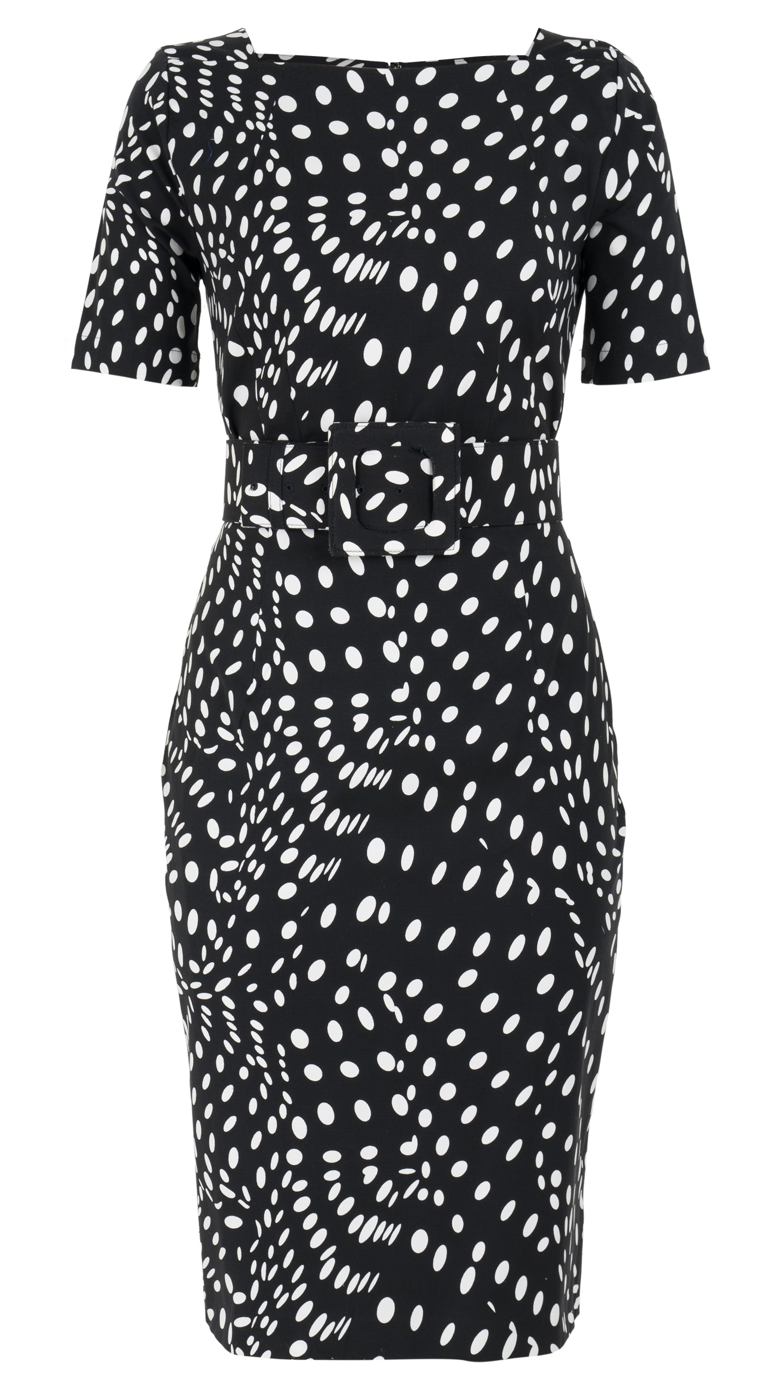 Drapery Dots_Black_Celine Dress Boat Neck 1-2 Sleeve w Hamilton Belt_C Dobby_Front-2