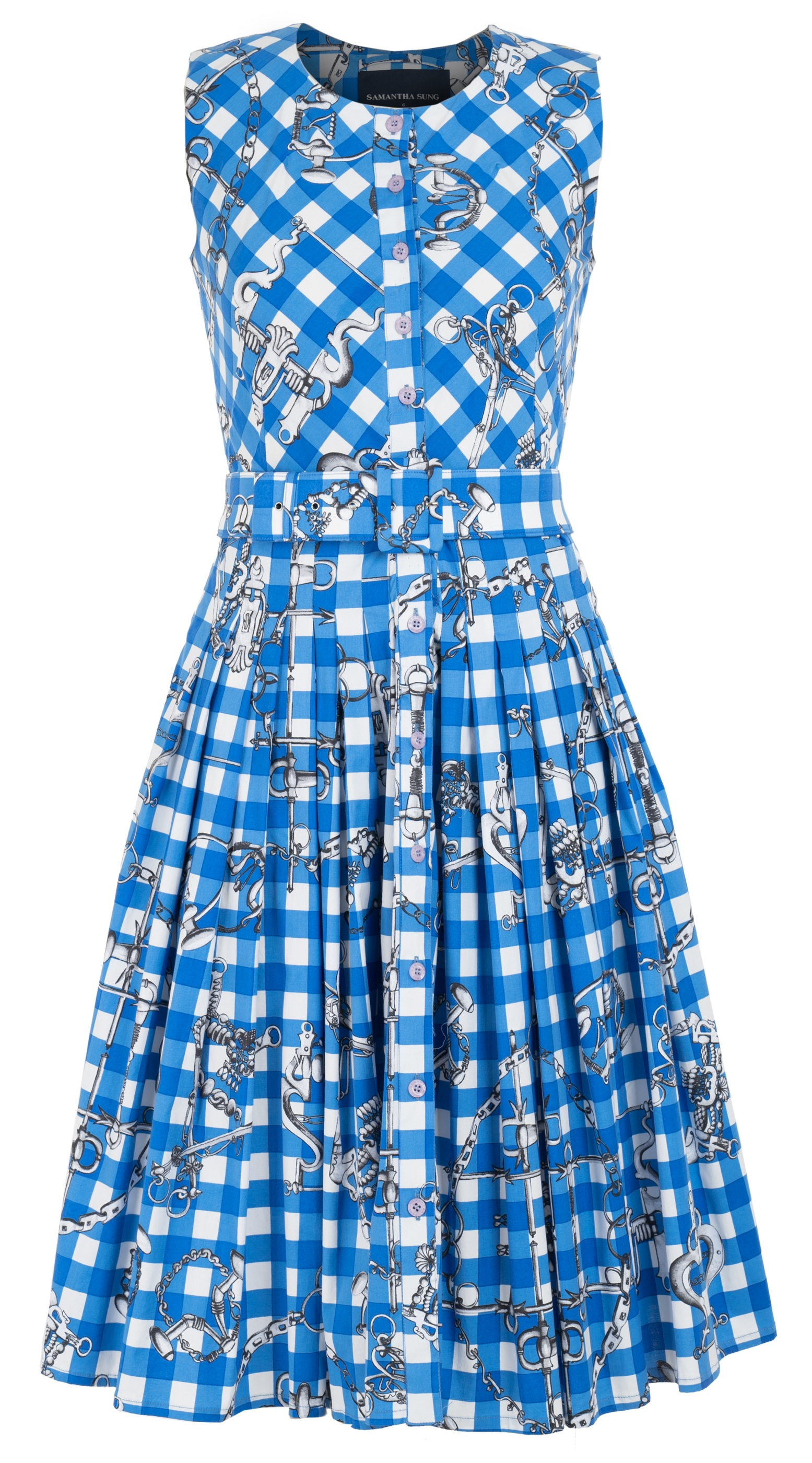 Horse Chain Gingham Bright_White Sky Blue_Audrey Dress #2 Crew Neck Sleeveless_CS_Front-2