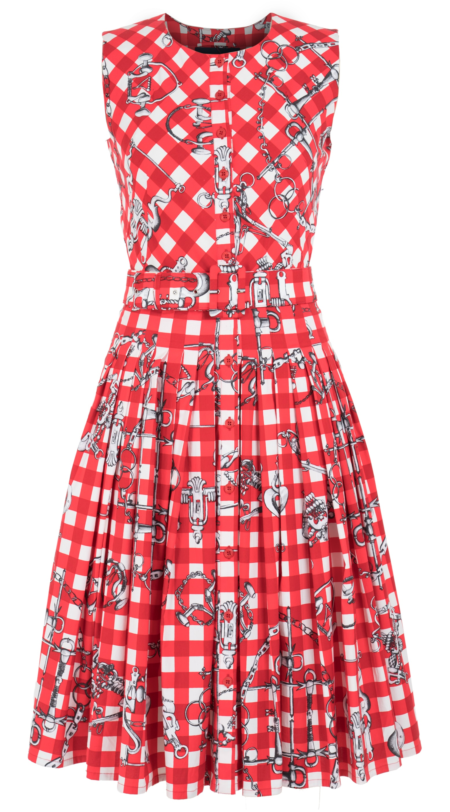 Horse Chain Gingham Bright_White Red_Audrey Dress #2 Crew Neck Sleeveless_CS_Front-2