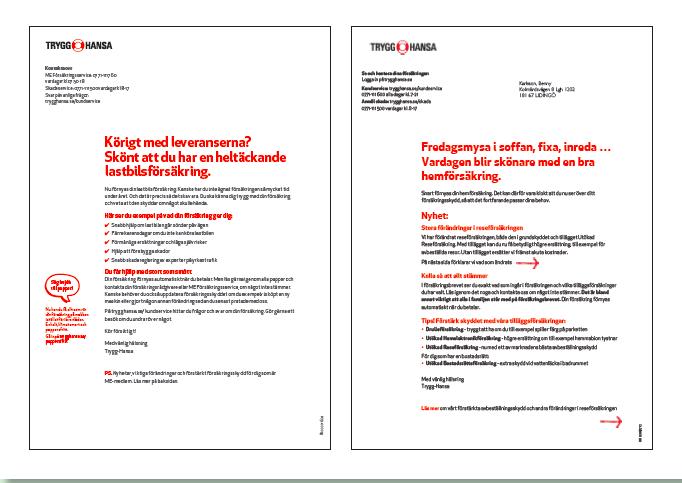 Säljbrev för hemförsäkring och lastbilsförsäkring. Text skriven av Ristretto Stockholm.