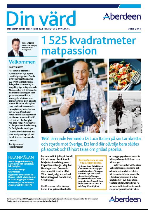 Bilden visar framsidan av ett nyhesbrev till SEB:s hyresgäster. Text, artiklar och content: Benny Karlsson Lilja, Ristretto Stockholm.