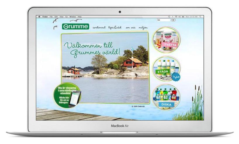 Bilden visar startsidan på  Grummes hemsida. Alla texter på hemsidan skrevs av Benny Karlsson Lilja på Ristretto Stockholm.
