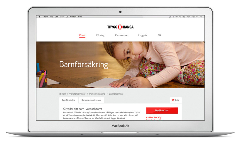 Webbcopy och content till Trygg-Hansa.