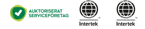 Auktoriserad Serviceentreprenör, ISO14001 MIljöcertifierad, ISO9001 Kvalitetscertifierad