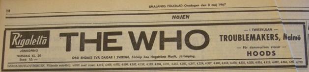 Annons i Smålands Folkblad 3 maj 1967.